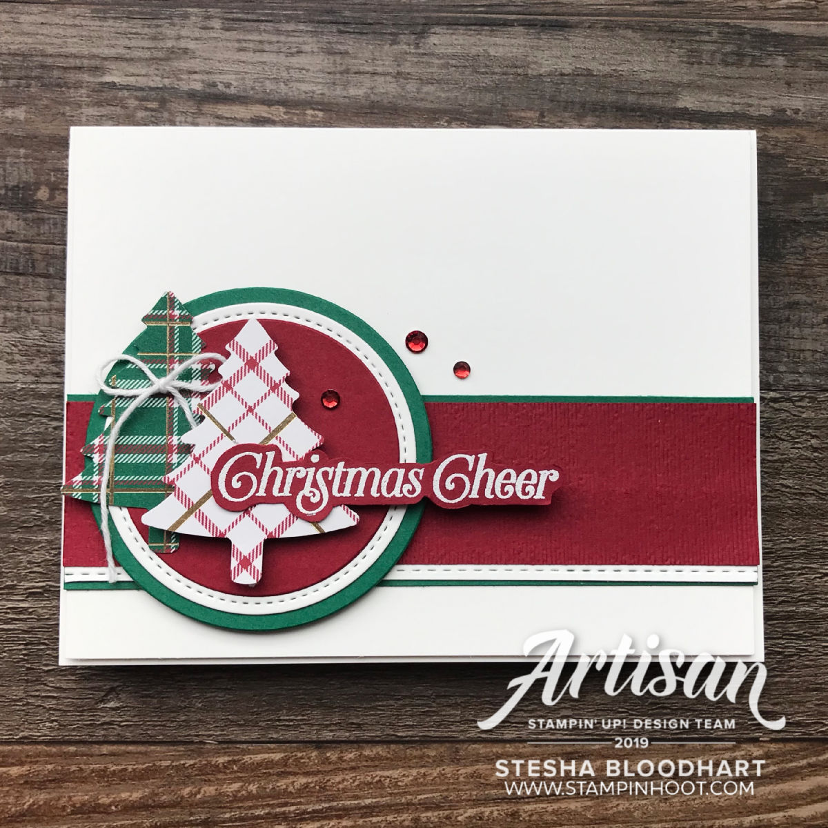 Perfectly Plaid Bundle by Stampin' Up! Christmas Card by Stesha Bloodhart, Stampin' Hoot!