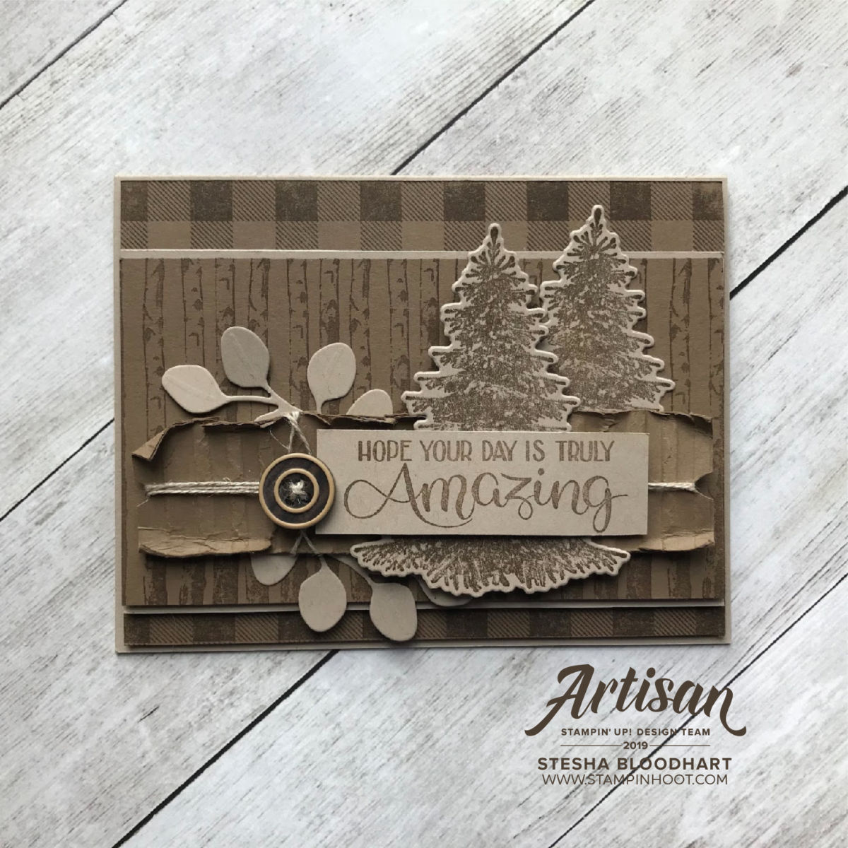Winter Woods and Buffalo Check Stamp Sets by Stampin' Up! Card by Stesha Bloodhart, Stampin' Hoot!