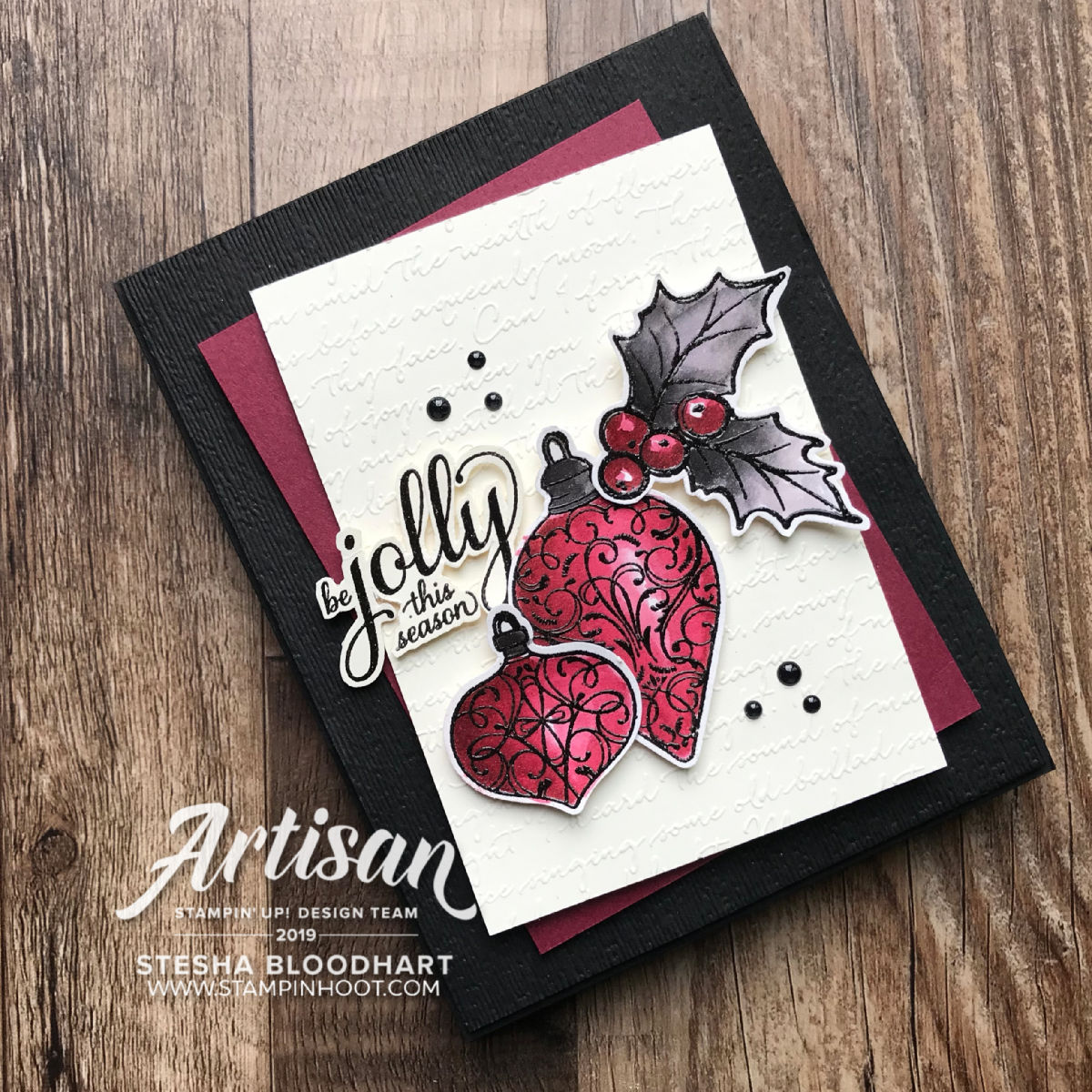 #tgifc228 Color Challenge Christmas Gleaming Bundle by Stampin' Up! Handmade Card by Stesha Bloodhart, Stampin' Hoot! #christmasgleaming