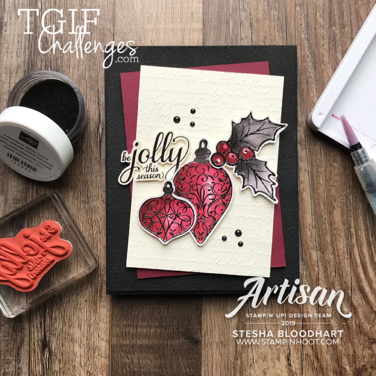 #tgifc228 Color Challenge Christmas Gleaming Bundle by Stampin' Up! Handmade Card by Stesha Bloodhart, Stampin' Hoot!