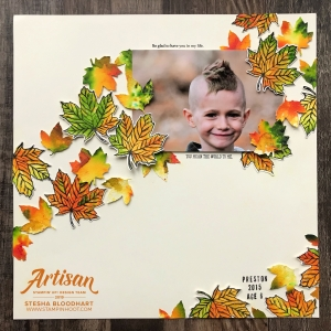Artisan Design Team Blog Hop October 2019 - Gather Together Bundle - Scrapbook Page and Card Created by Stesha Bloodhart, Stampin