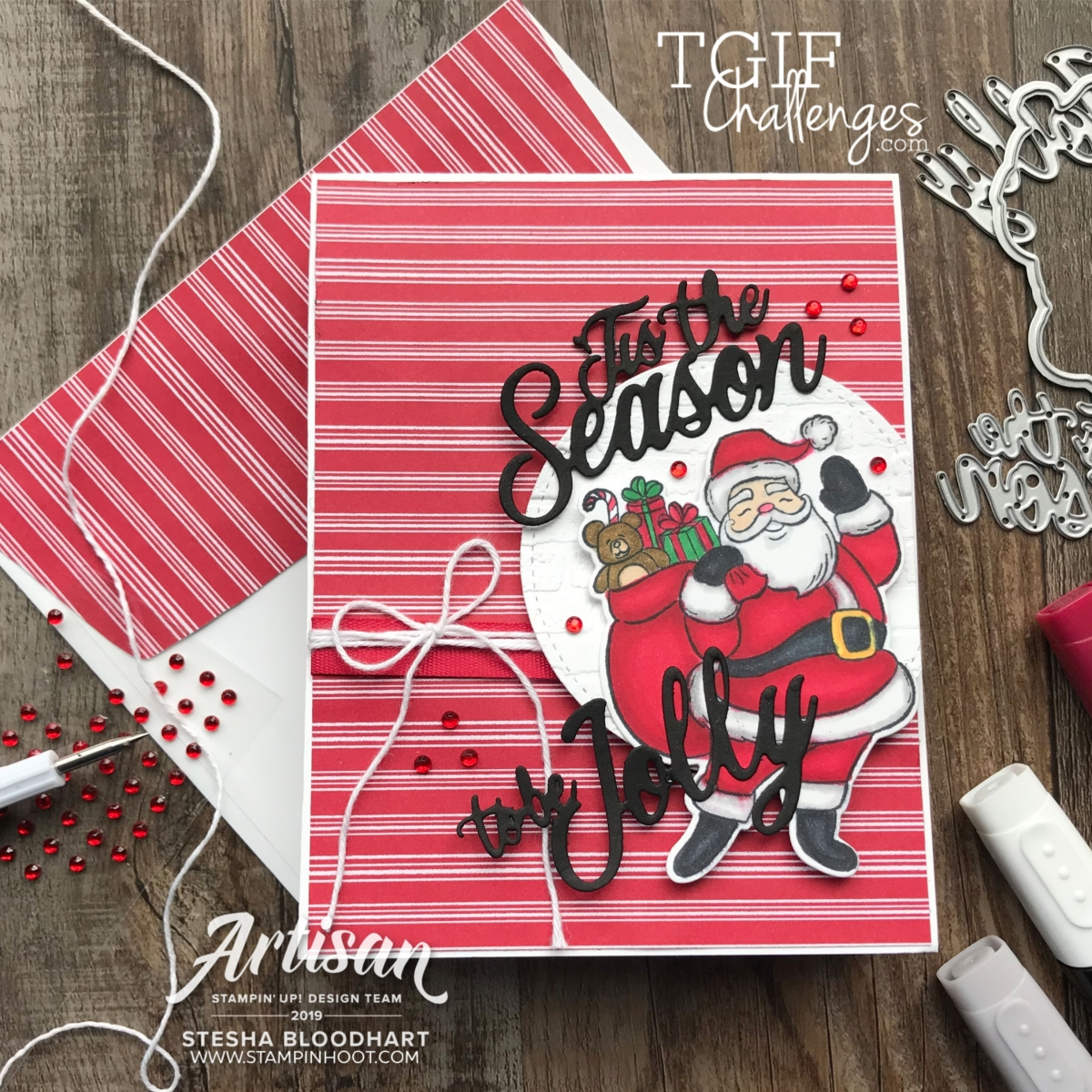 Holly Jolly Christmas Bundle from Stampin' Up! Card by Stesha Bloodhart, Stampin' Hoot! #tgifc233