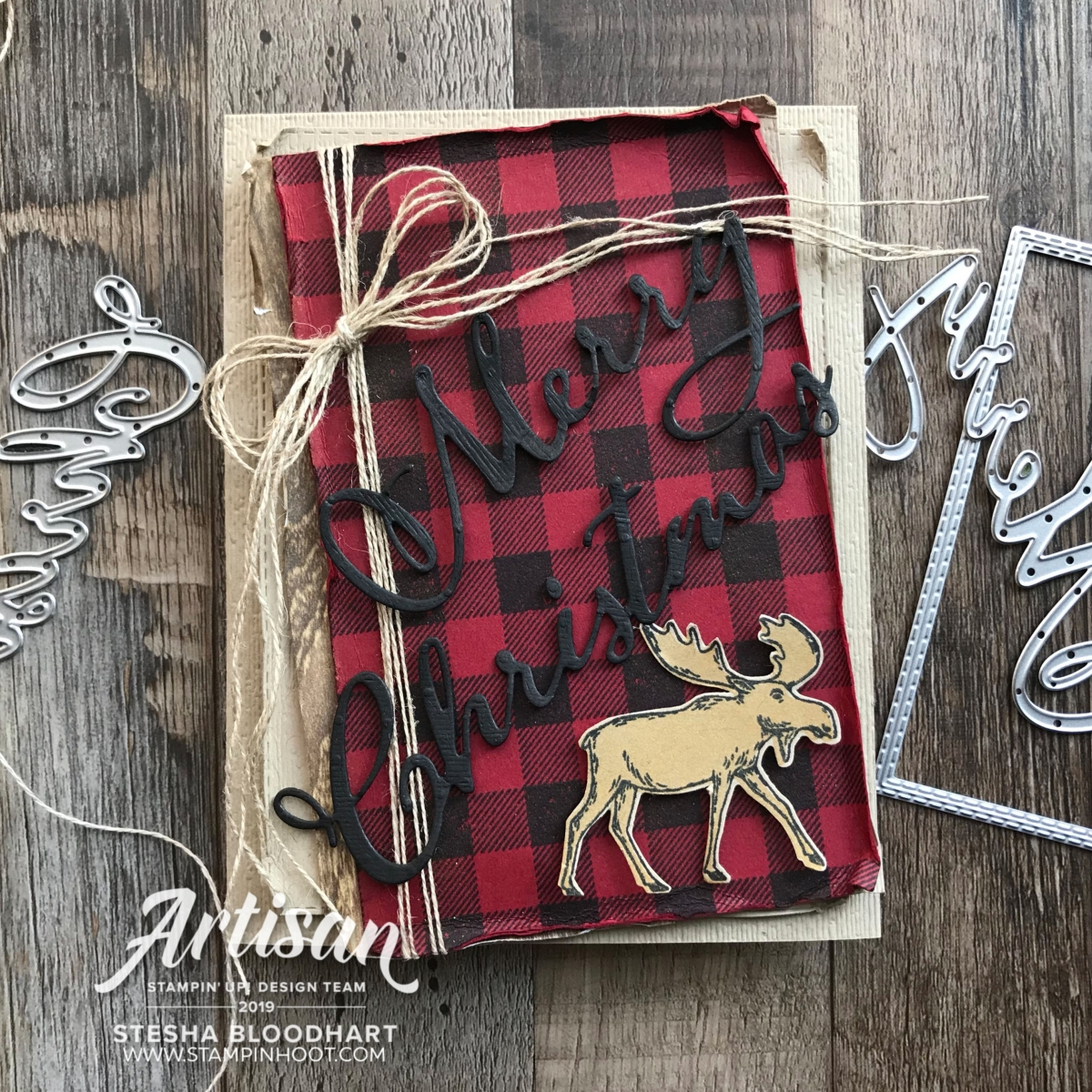 Merry Christmas Dies & Merry Moose Stamp Set from Stampin' Up! Card created by Stesha Bloodhart, Stampin' Hoot!