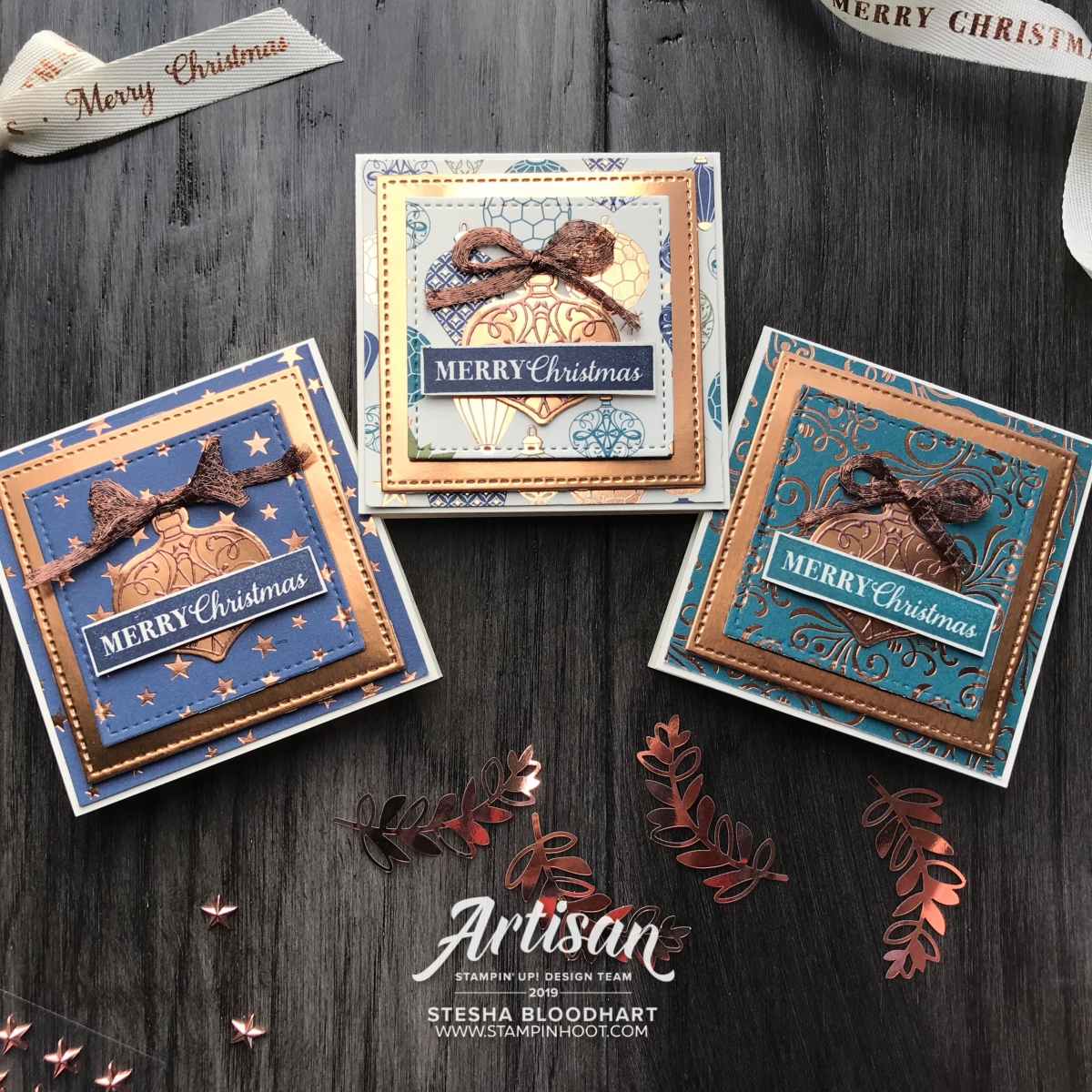 Copper Tea Tins from Stampin' Up! 3X3 Card holder created by Stesha Bloodhart, Stampin' Hoot! 2019 Artisan Design Team Member