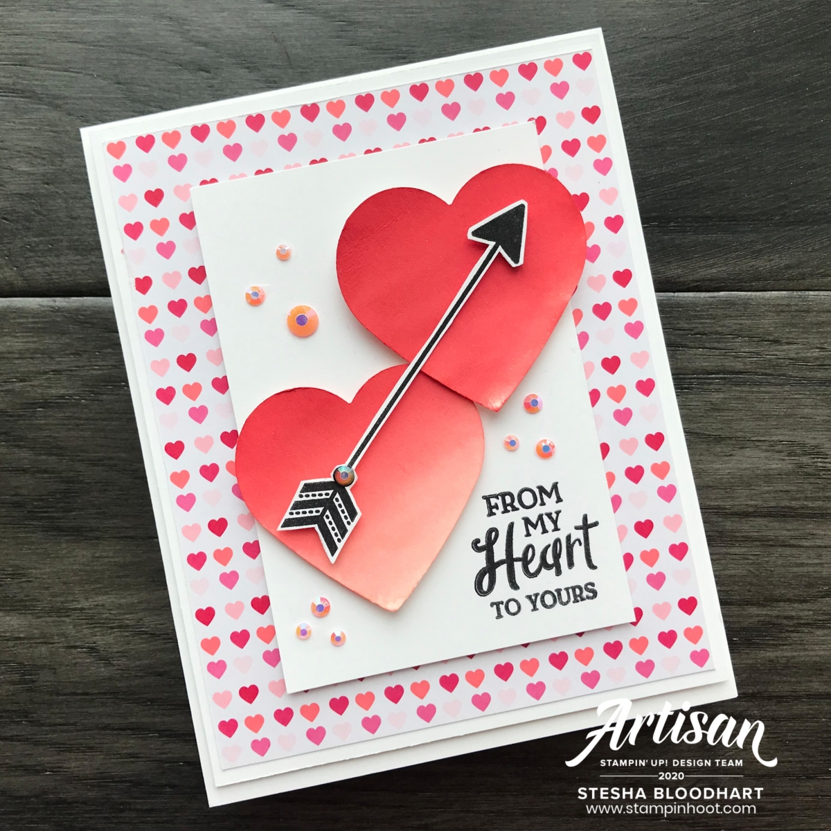 From My Heart Suite Bundle from Stampin' Up! Creations by Stesha Bloodhart, Stampin' Hoot! 2020 Artisan Design Team Blog Hop Card