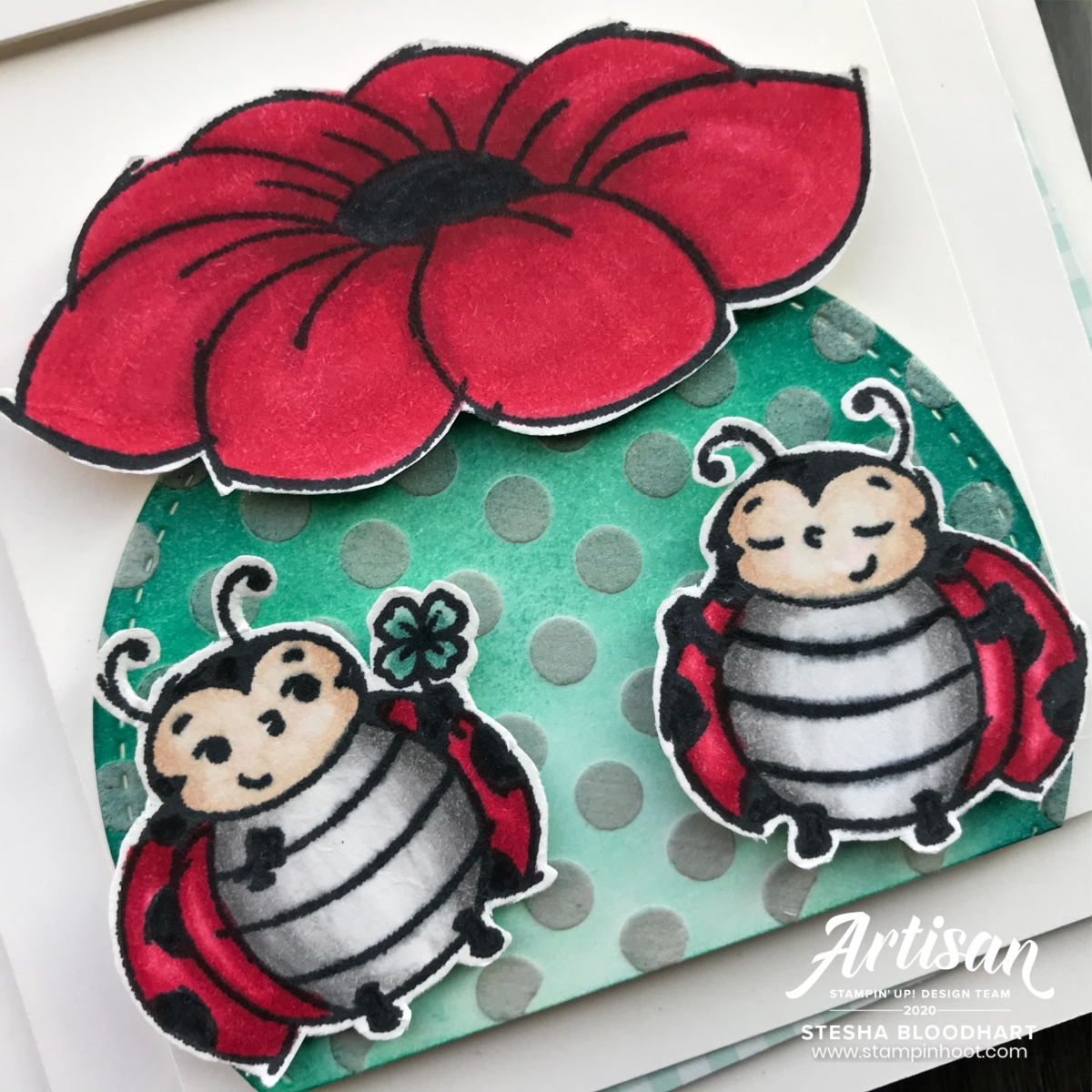 Little Ladybug Stamp Set - Free with $300 order or workshop. Card by Stesha Bloodhart, Stampin' Hoot!