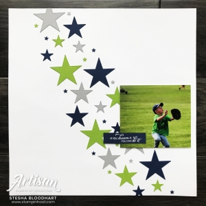 Scrapbook Page using Stitched Stars Dies by Stampin