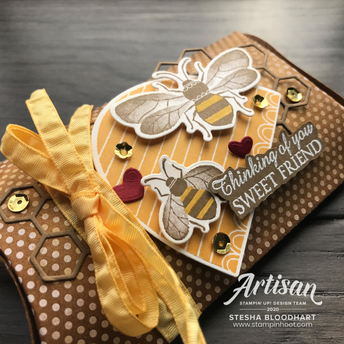 Honey Bee Bundle by Stampin' Up! Pillow Box by Stesha Bloodhart, Stampin' Hoot! SRC Blog Hop