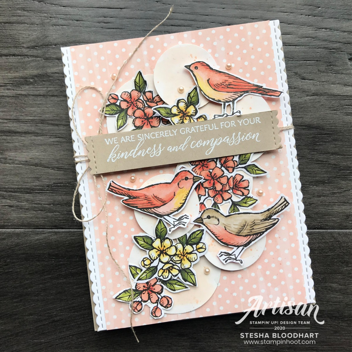 Kindness and Compassion Stamp Set by Stampin' Up! Bird Ballad DSP Card by Stesha Bloodhart, Stampin' Hoot! 2020 Artisan