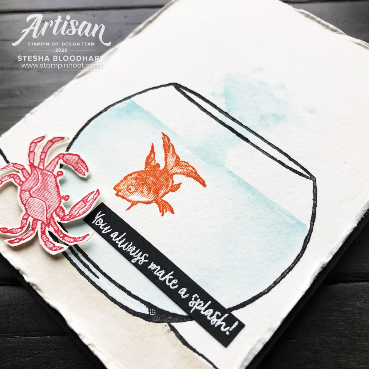 Make a Splash Stampin' Rewards Exclusive Stamp Set by Stampin' Up! Card by Stesha Bloodhart, Stampin' Hoot! 2020 Artisan Design Team