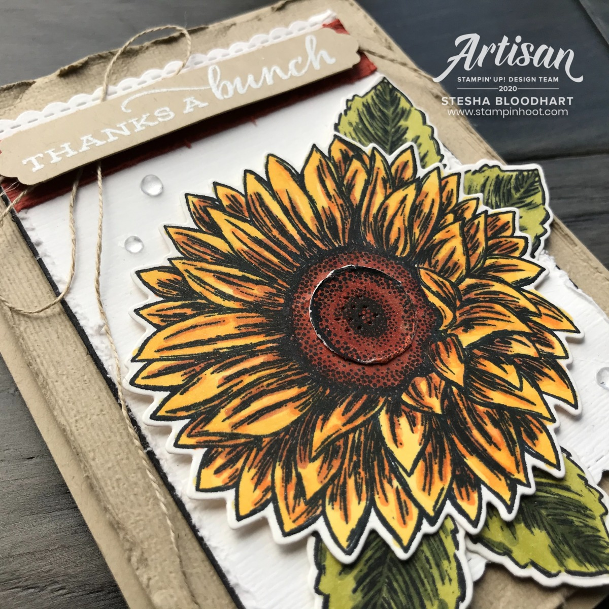 Celebrate Sunflowers Bundle and Jar of Flowers Bundle from Stampin' Up! Card by Stesha Bloodhart, Stampin' Hoot! June 2020 Artisan Blog Hop (6)