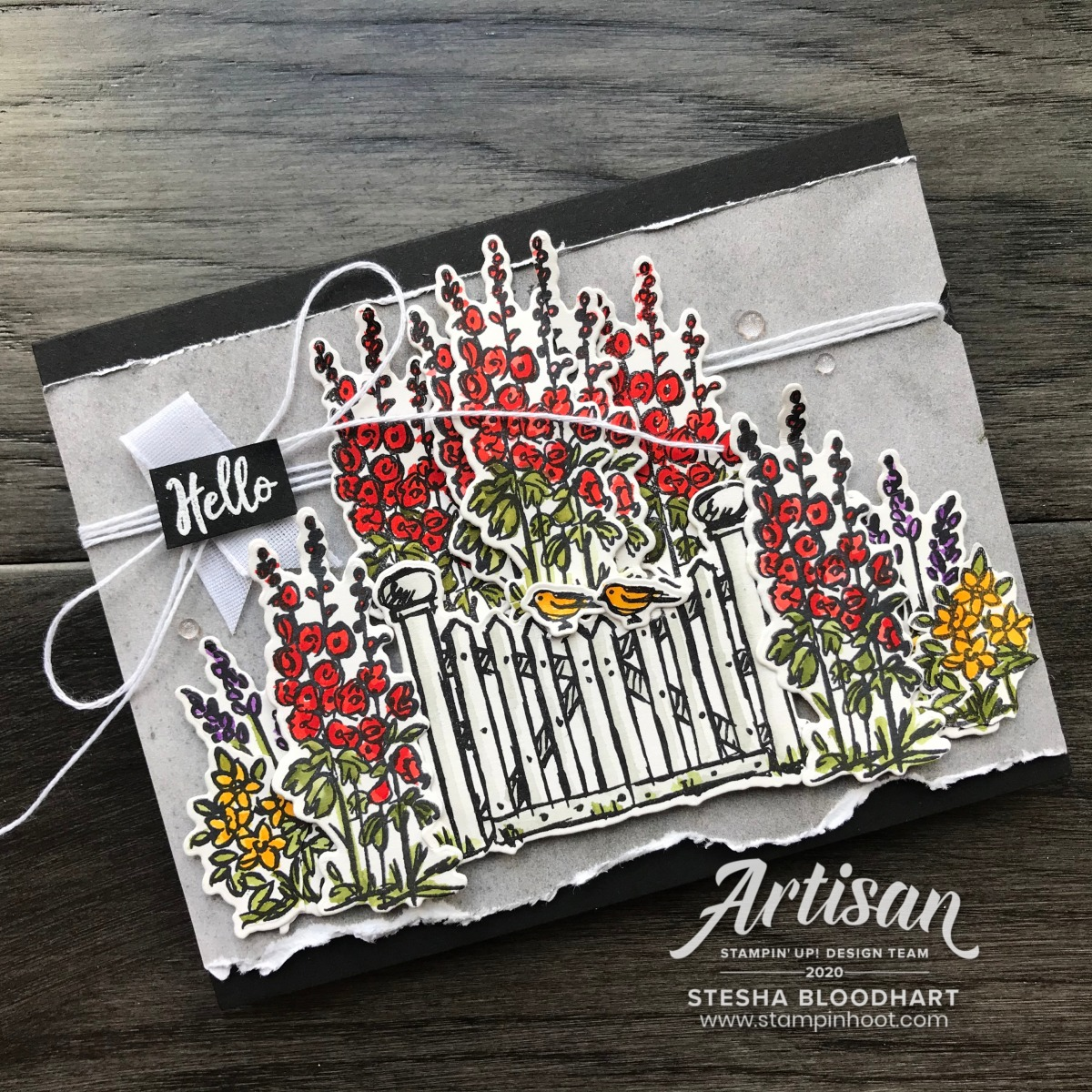Card made with Grace's Garden Stamp Set & Garden Gateway Dies by Stampin' Up! Card created by 2020 Artisan Stesha Bloodhart, Stampin' Hoot!