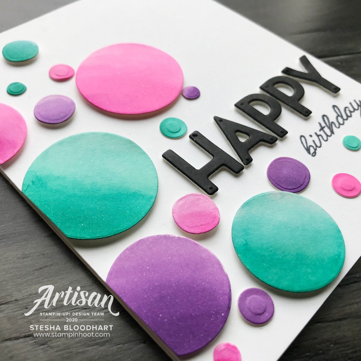 Playful Alphabet From Stampin' Up! Happy Birthday Card by Stesha Bloodhart, Stampin' Hoot! #tgifc276 Color Combo