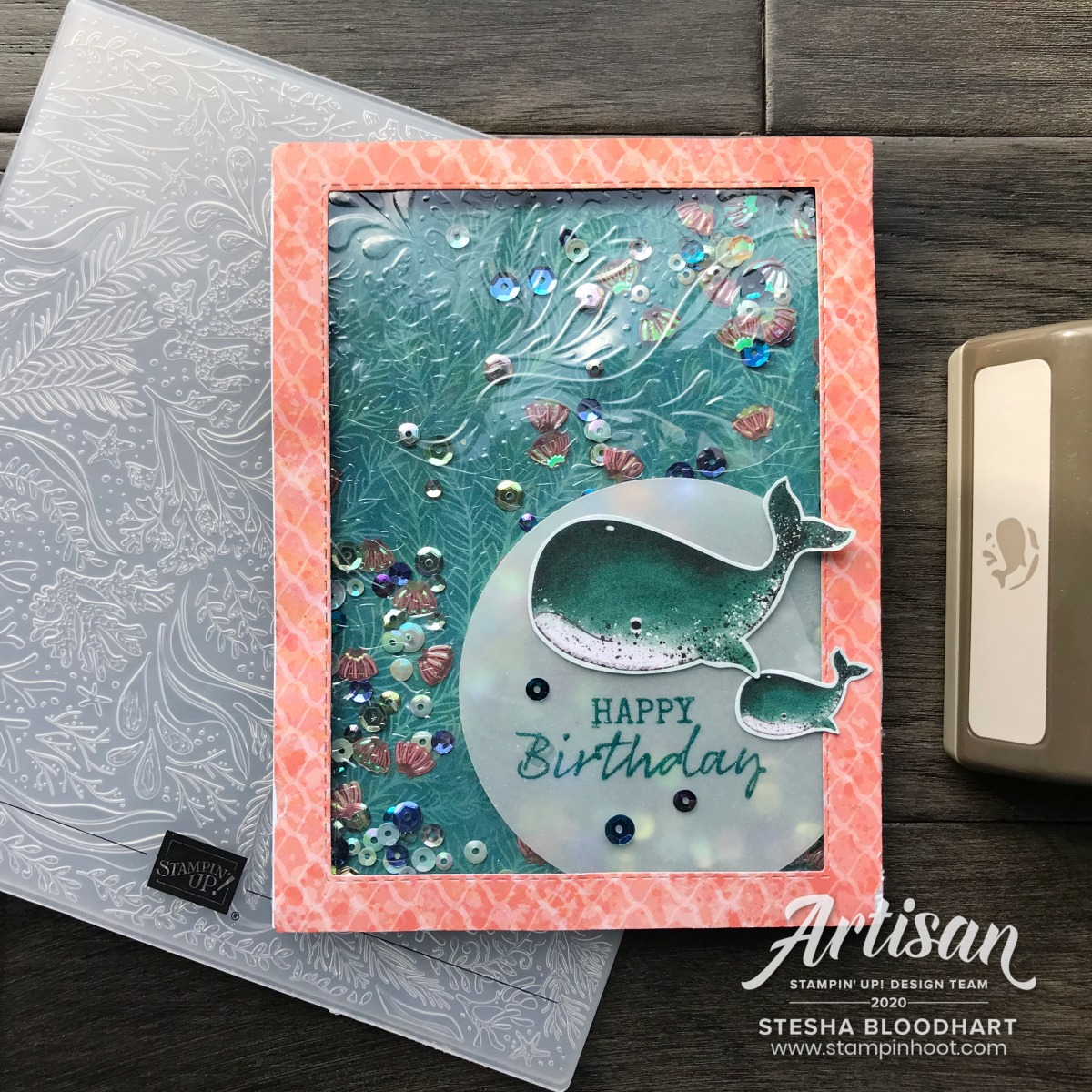 Whale of a Time Embossed Shaker Card by Stesha Bloodhart, Stampin' Hoot!