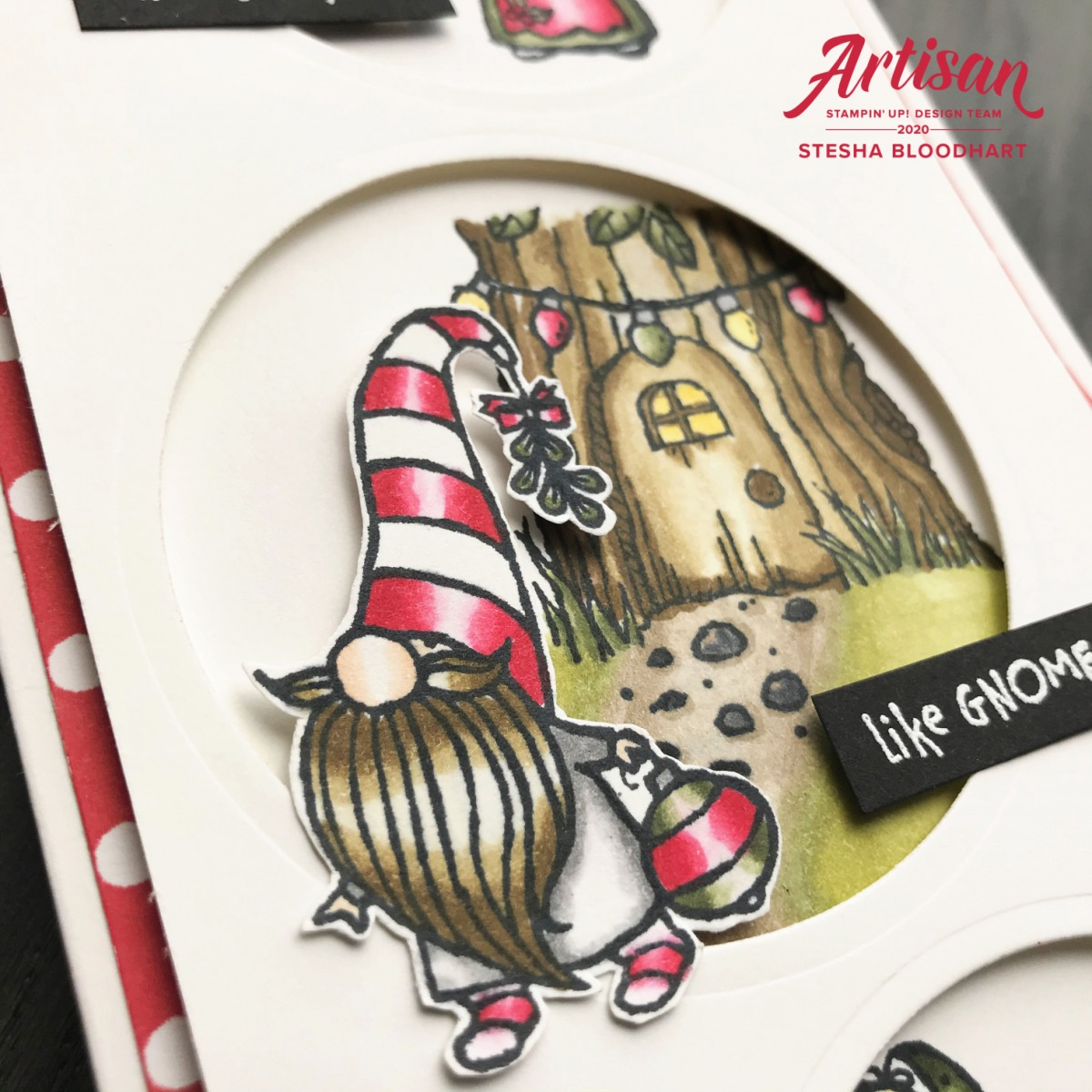 Gnome for the Holidays Slimline Card Pajama Gnome Closeup Stesha Bloodhart, Stampin' Hoot!