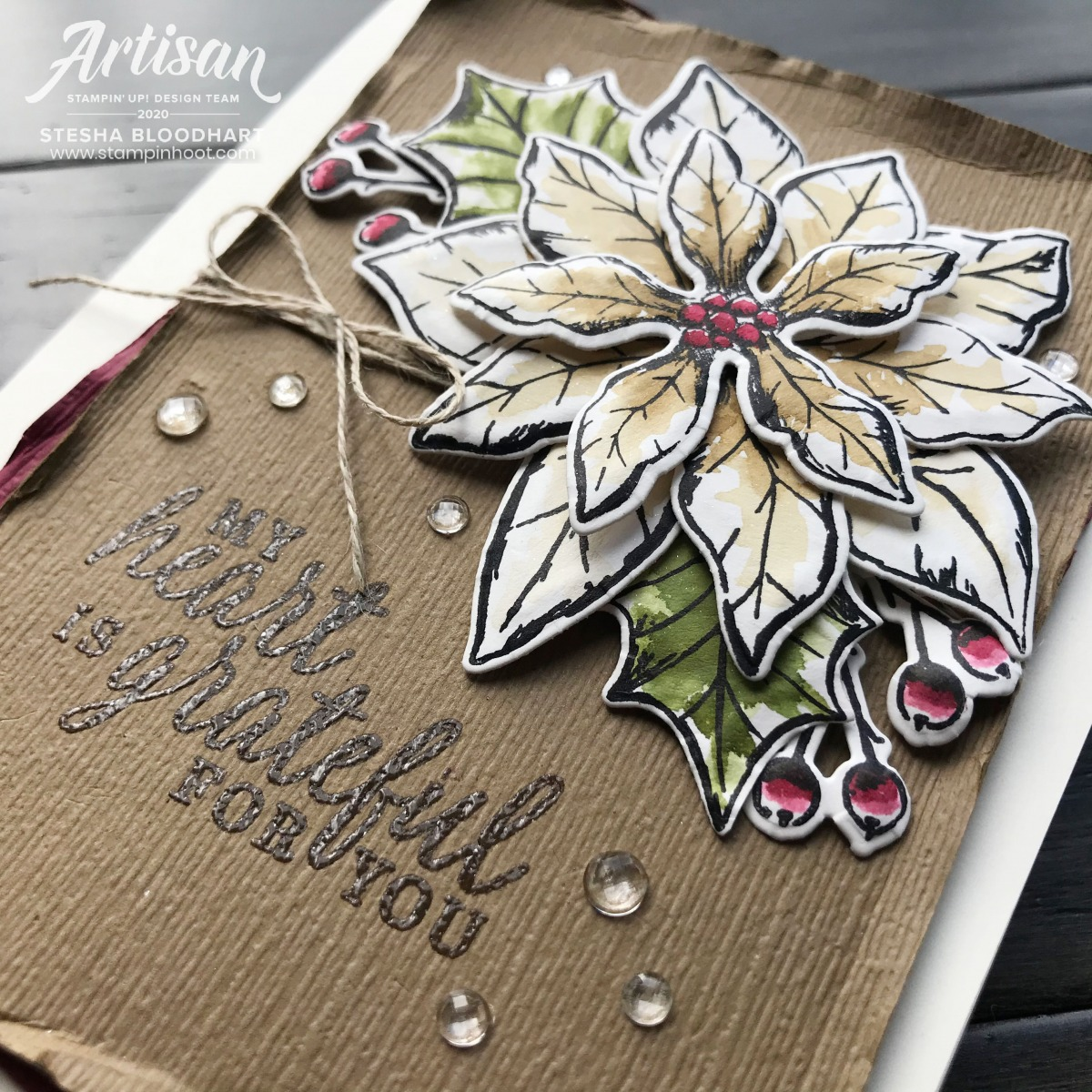 Poinsettia Petals and Beautiful Autumn Stamp Sets by Stampin' Up! Card by Stesha Bloodhart, Stampin' Hoot!
