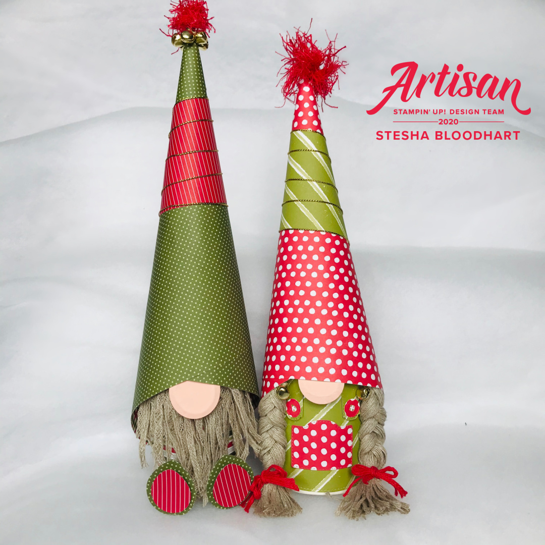Gnomes made with Mini Coffee Cups from Stampin' Up! Created by Stesha Bloodhart, Stampin' Hoot!