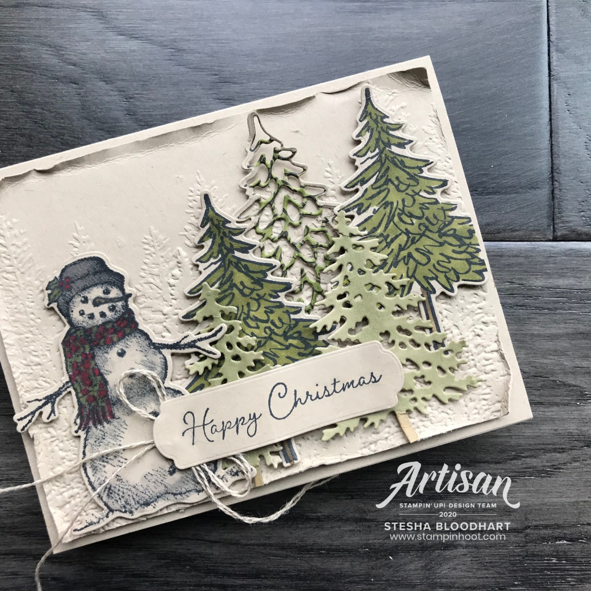 Create these cards using the In the Pines and Snow Wonder Bundles from Stampin' Up! 2020 Artisan Blog Hop, Stesha Bloodhart, Stampin' Hoot!