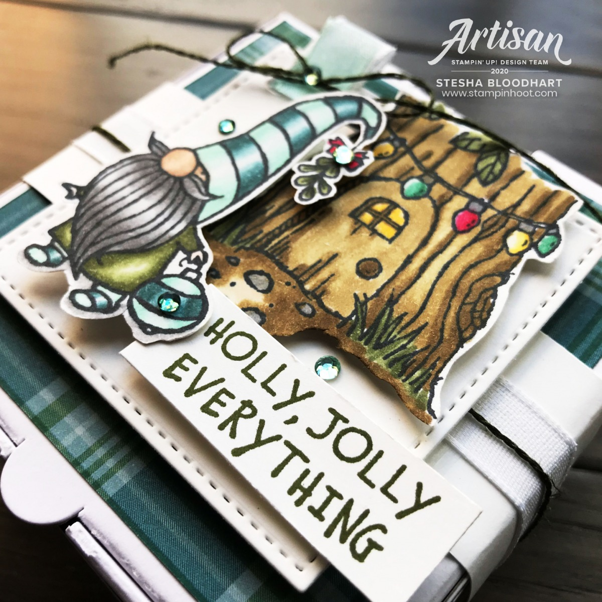 Holly Jolly Everything Gnome Mini Pizza Box From Stampin' Up! Created by Stesha Bloodhart, Stampin' Hoot! 2020 Artisan