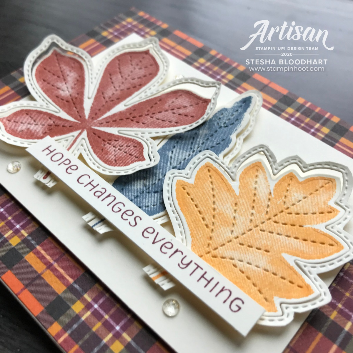 Love of Leaves Bundle and Plaid Tidings 6x6 Designer Series Paper from Stampin' Up! Card by Stesha Bloodhart, Stampin' Hoot!