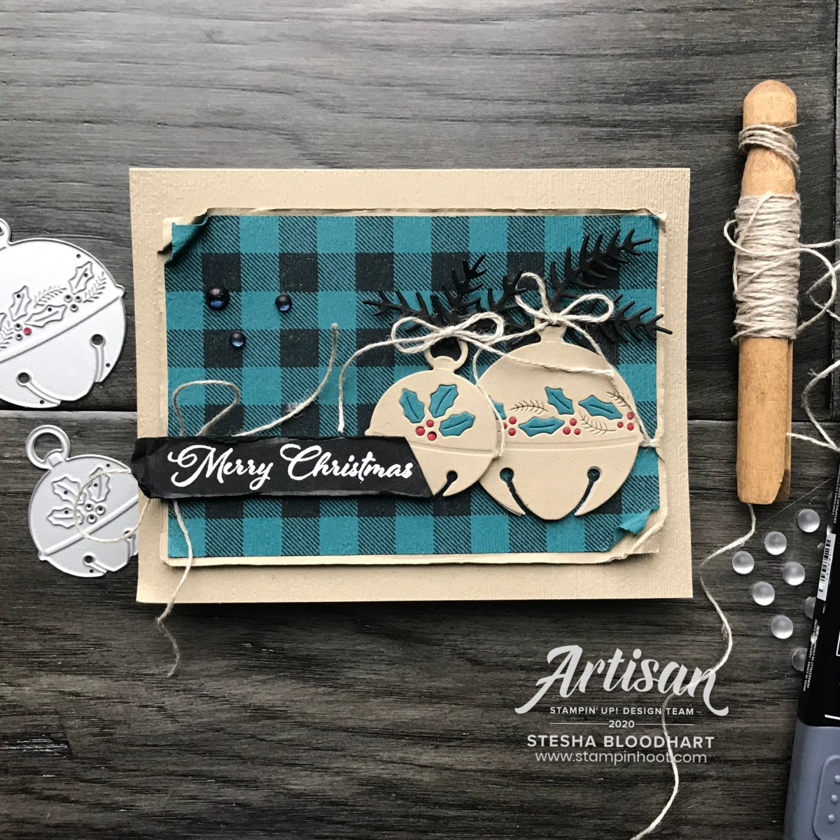 Cherish the Season Bundle from Stampin' Up! Merry Christmas Card by Stesha Bloodhart, Stampin' Hoot! Be Inspired Blog Hop Edited