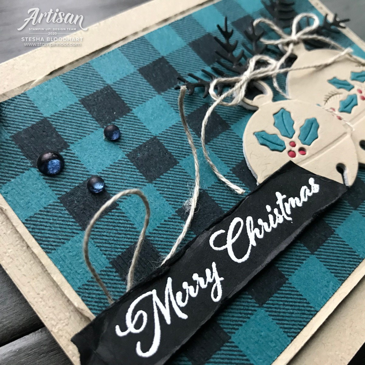 Cherish the Season Bundle from Stampin' Up! Merry Christmas Card by Stesha Bloodhart, Stampin' Hoot! Be Inspired Blog Hop Updated Closeup