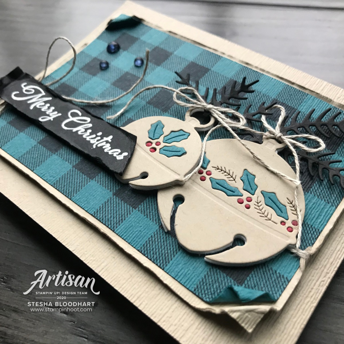 Cherish the Season Bundle from Stampin' Up! Merry Christmas Card by Stesha Bloodhart, Stampin' Hoot! Be Inspired Blog Hop Updated