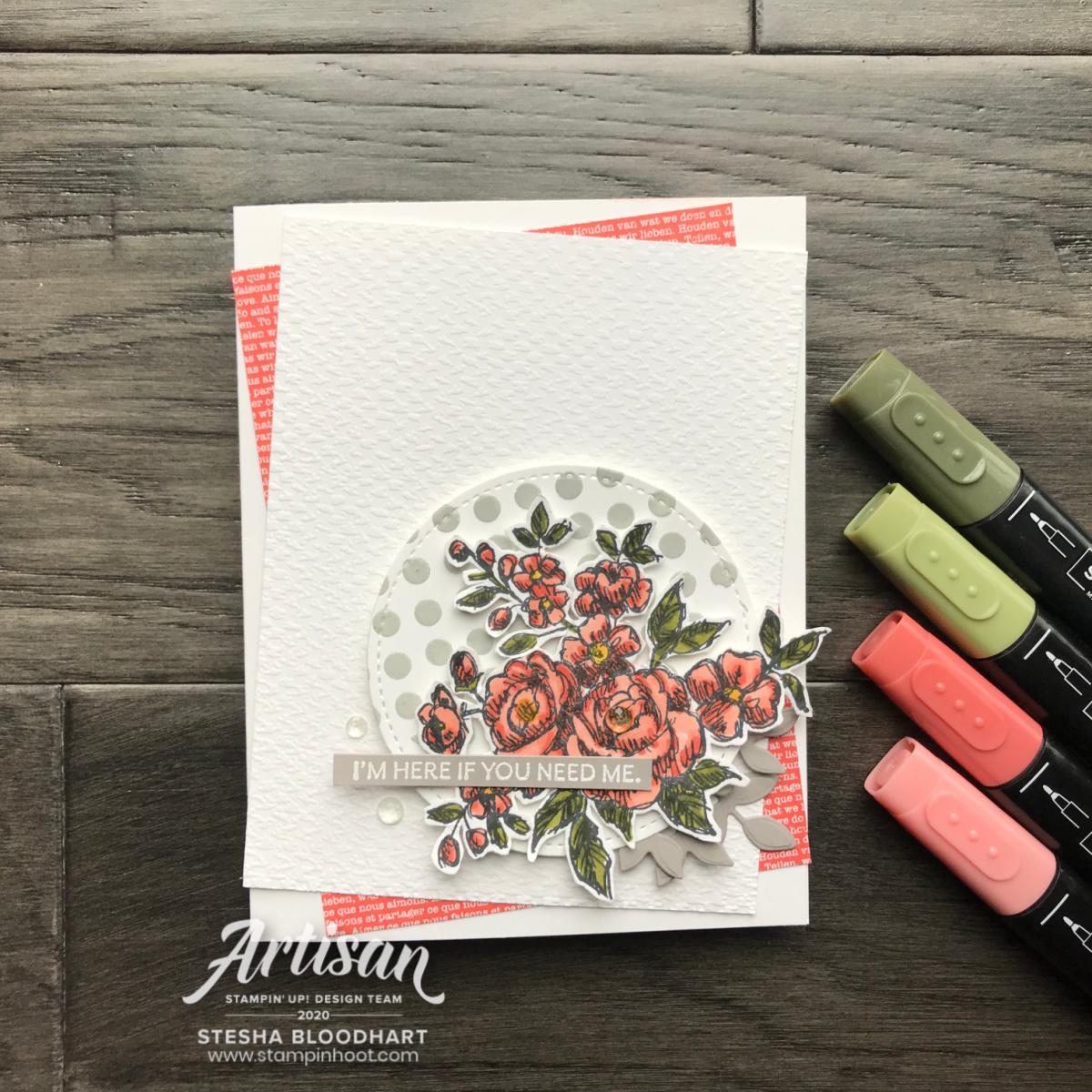 Create this card using the Here's A Card and Fancy Phrases Stamp Sets by Stampin' Up! Card by Stesha Bloodhart, Stampin' Hoot!