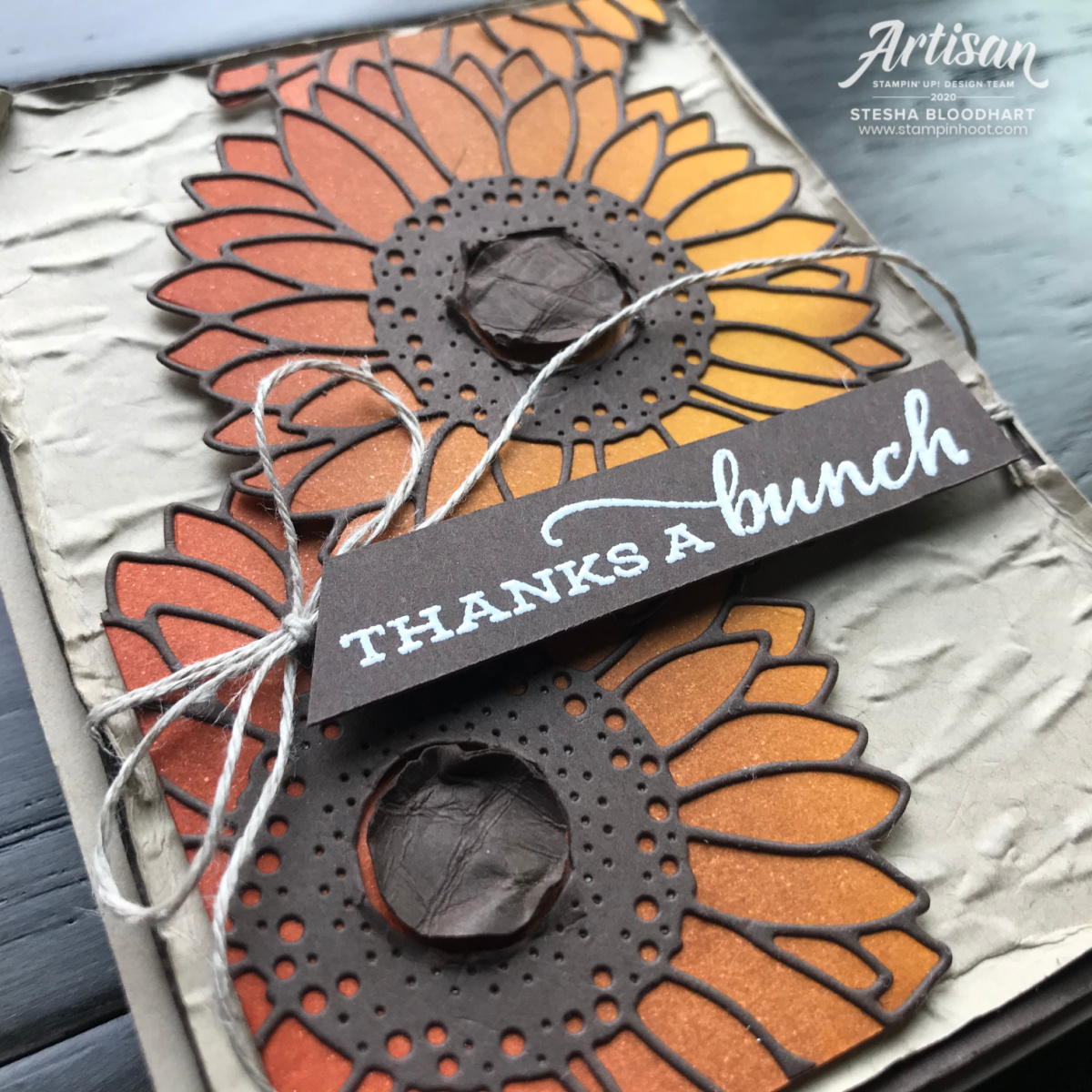 Create this card using the new Blending Brushed from Stampin' Up! Celebrate Sunflowers Thanks a Bunch card by Stesha Bloodhart, Stampin' Hoot! #tgifc291