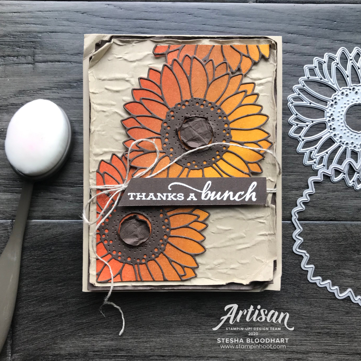 SNEAK PEEK! Blending Brushes from Stampin' Up! Card by Stesha Bloodhart, TGIFC291 thankful