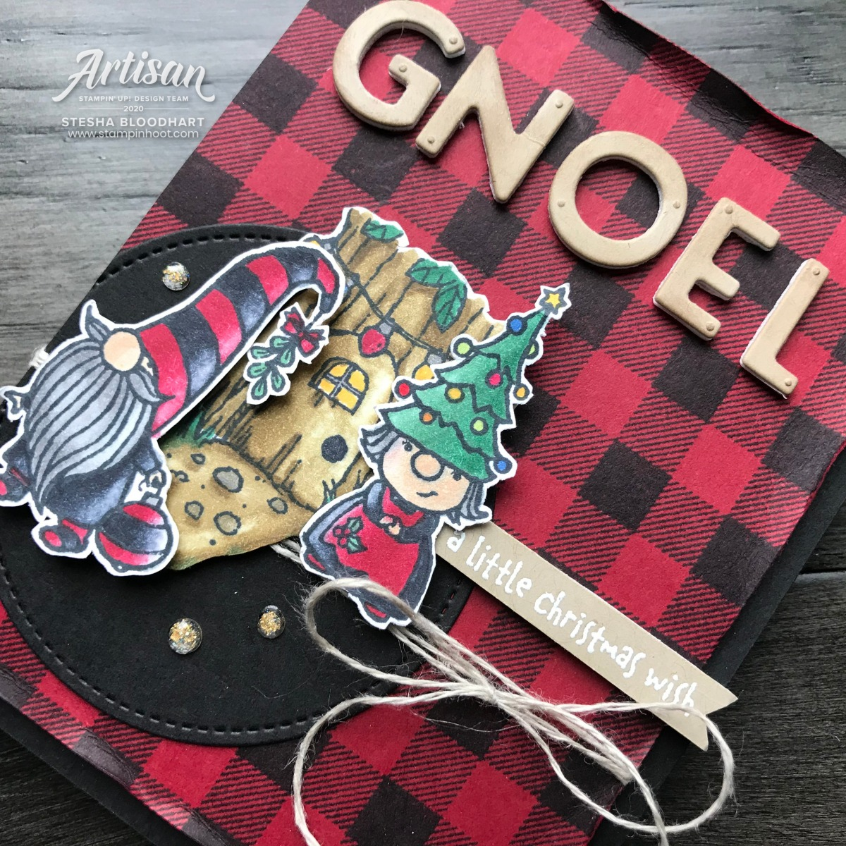 Holiday Card created by Stesha Bloodhart, Stampin' Hoot! Gnome for the Holiday's Stamp Set from Stampin' Up! (1)