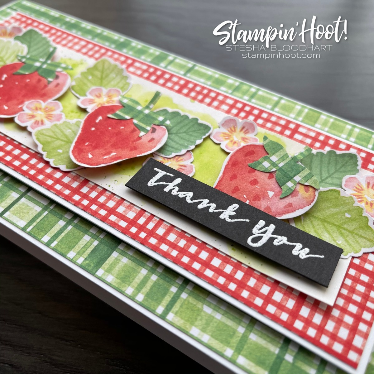 Berry Blessings Stamp Set & Berry Delightful DSP FREE With $100 Purchase - Card by Stesha Bloodhart, Stampin' Hoot! Thank You Slimline Card