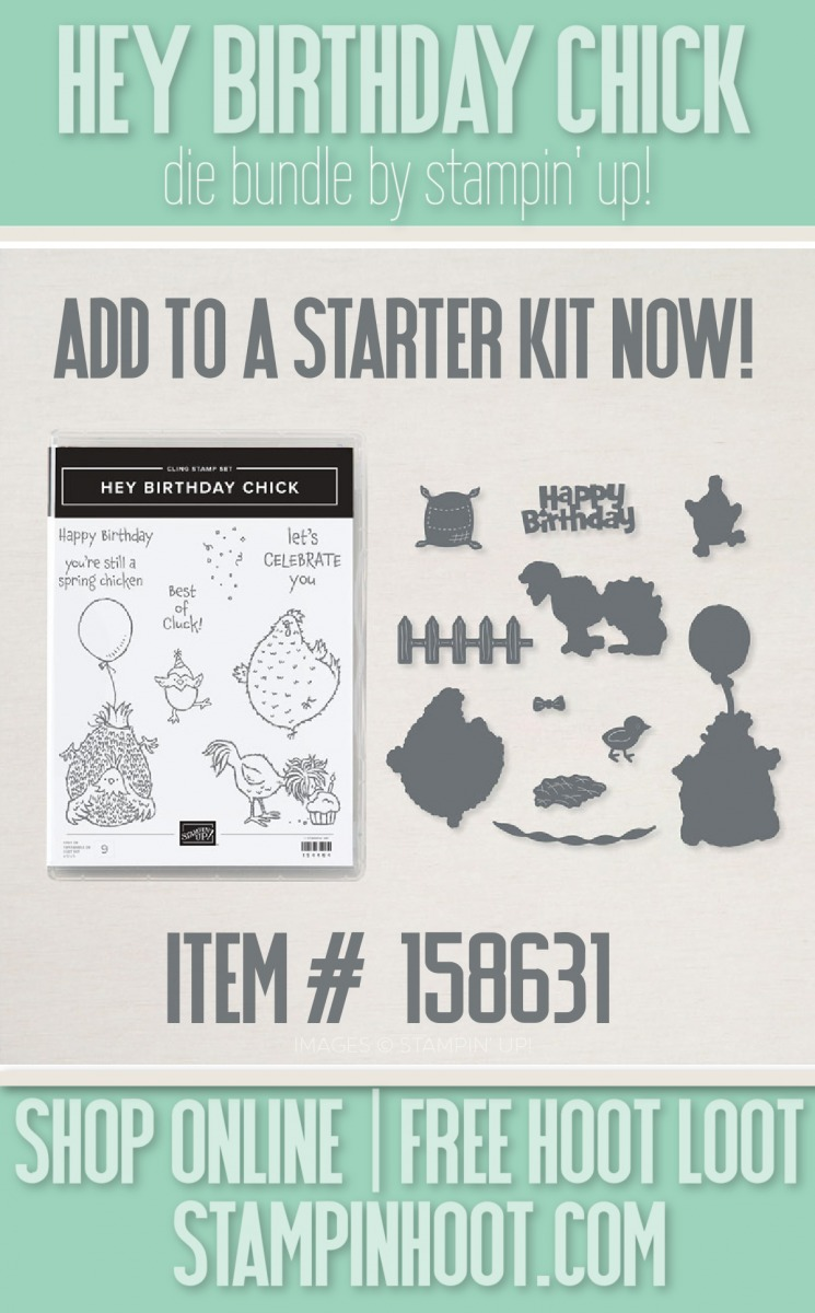 Hey Birthday Chick Bundle 158631 from Stampin' Up! Add now to a starter kit with Stesha Bloodhart, Stampin' Hoot