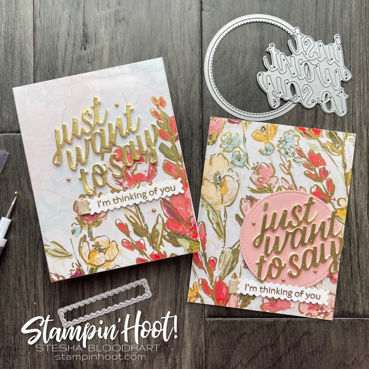 Just Want to Say I'm Thinking of You with Art Gallery Bundle from Stampin' Up! Cards by Stesha Bloodhart, Stampin' Hoot!