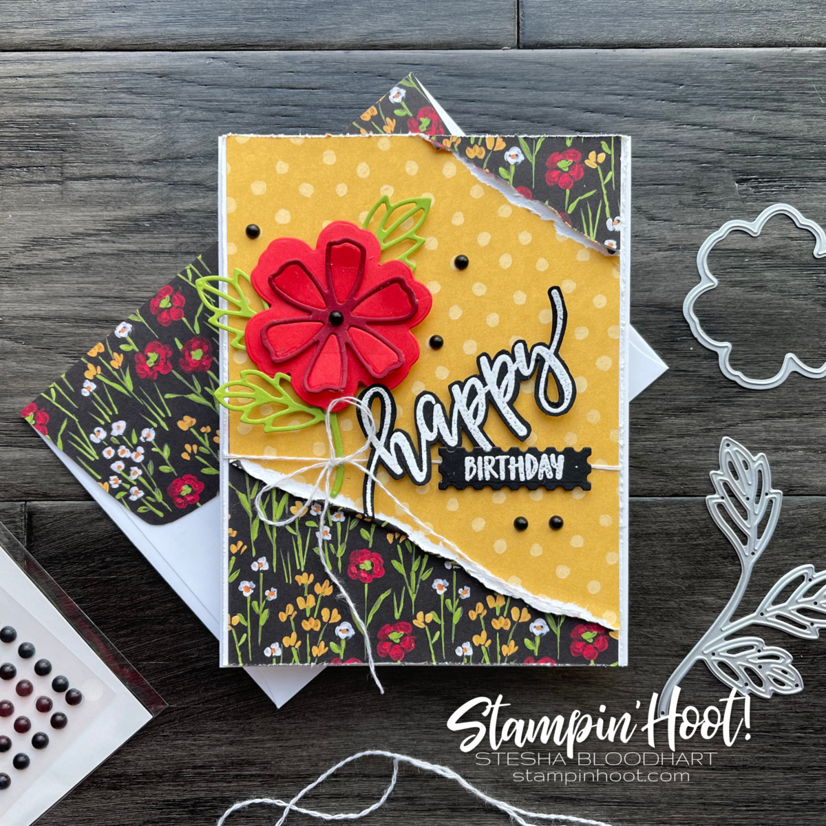 Stampin' Up! Pretty Perennials Bundle and Flower & Field Designer Series Paper. Happy Birthday Card by Stesha Bloodhart, Stampin' Hoot!
