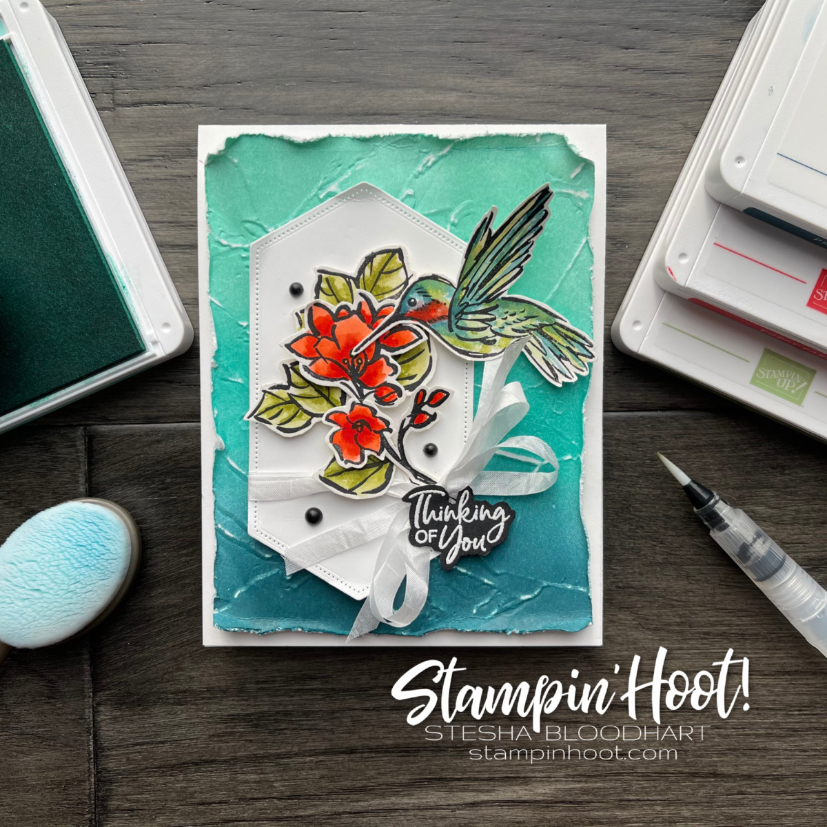 A Touch of Ink Stamp Set from Stampin' Up! Free during Sale-a-Bration. Card created by Stesha Bloodhart, Stampin' Hoot!