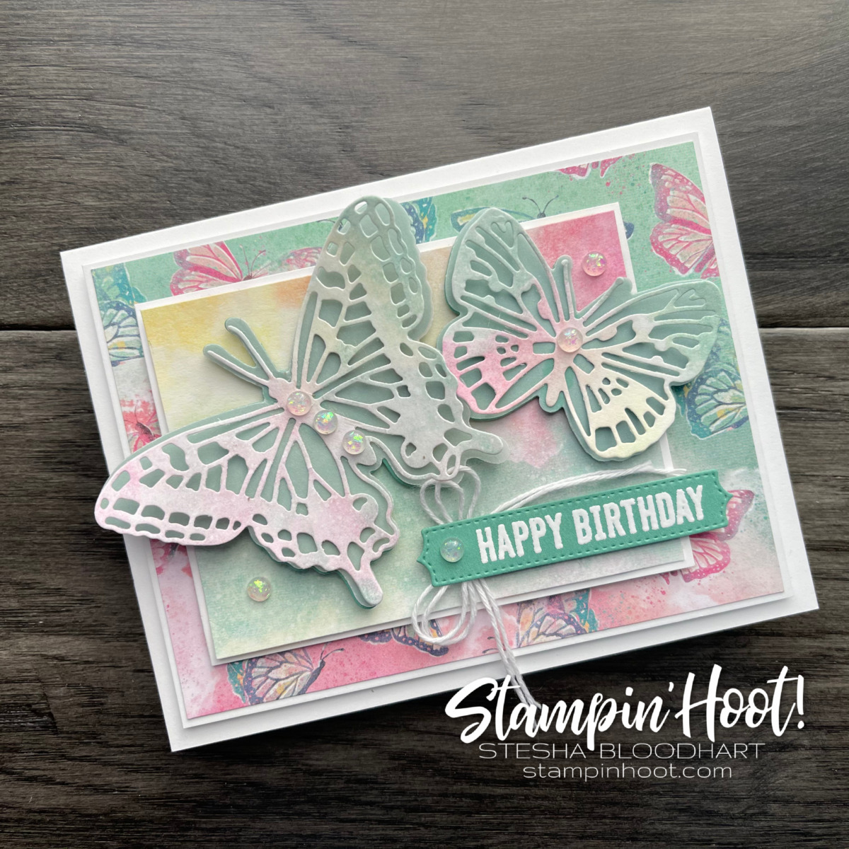 Butterfly Bouquet Bundle from Stampin' Up! Card by Stesha Bloodhart, Stampin' Hoot! #tgifc303 (1)