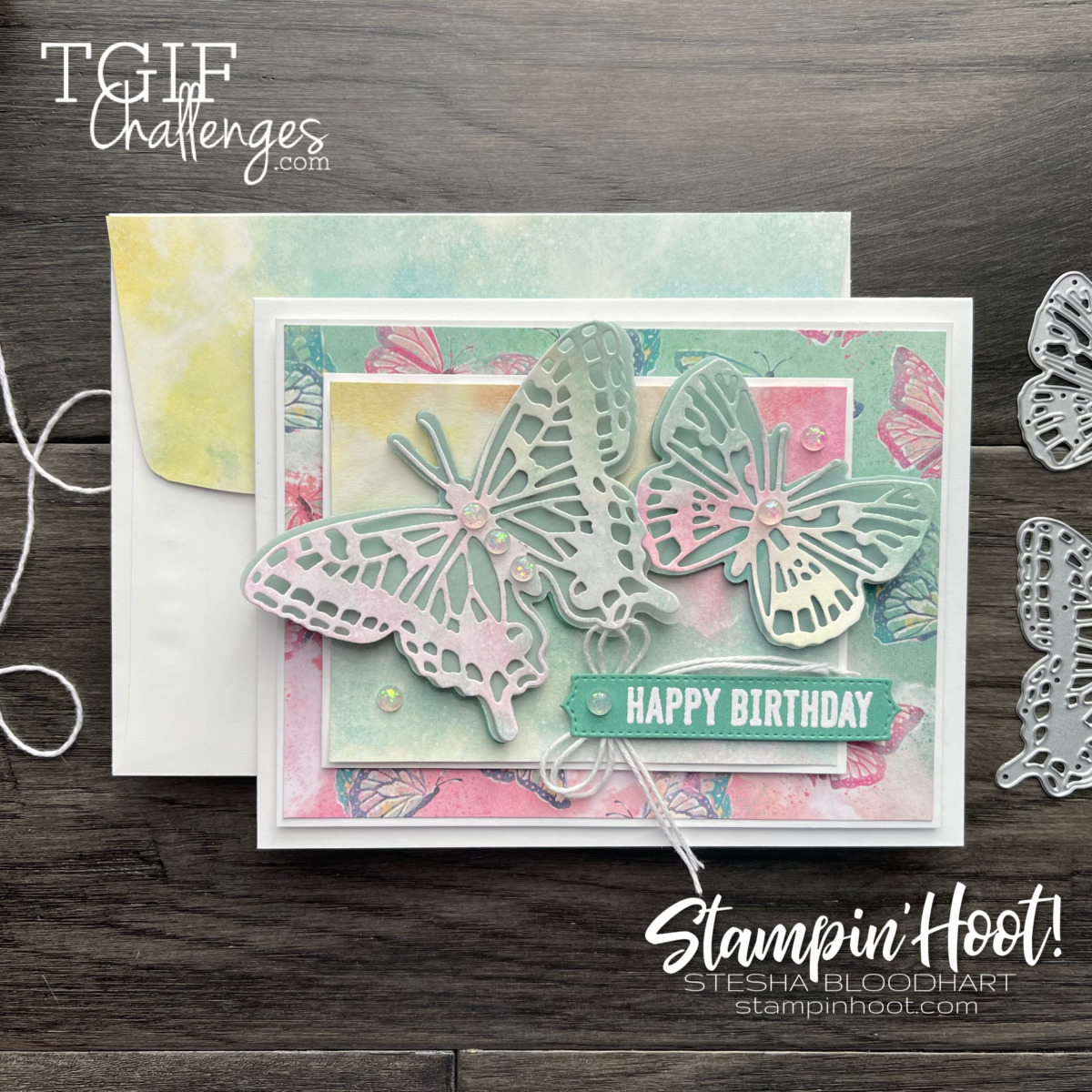 Butterfly Bouquet Bundle from Stampin' Up! Card by Stesha Bloodhart, Stampin' Hoot! #tgifc303