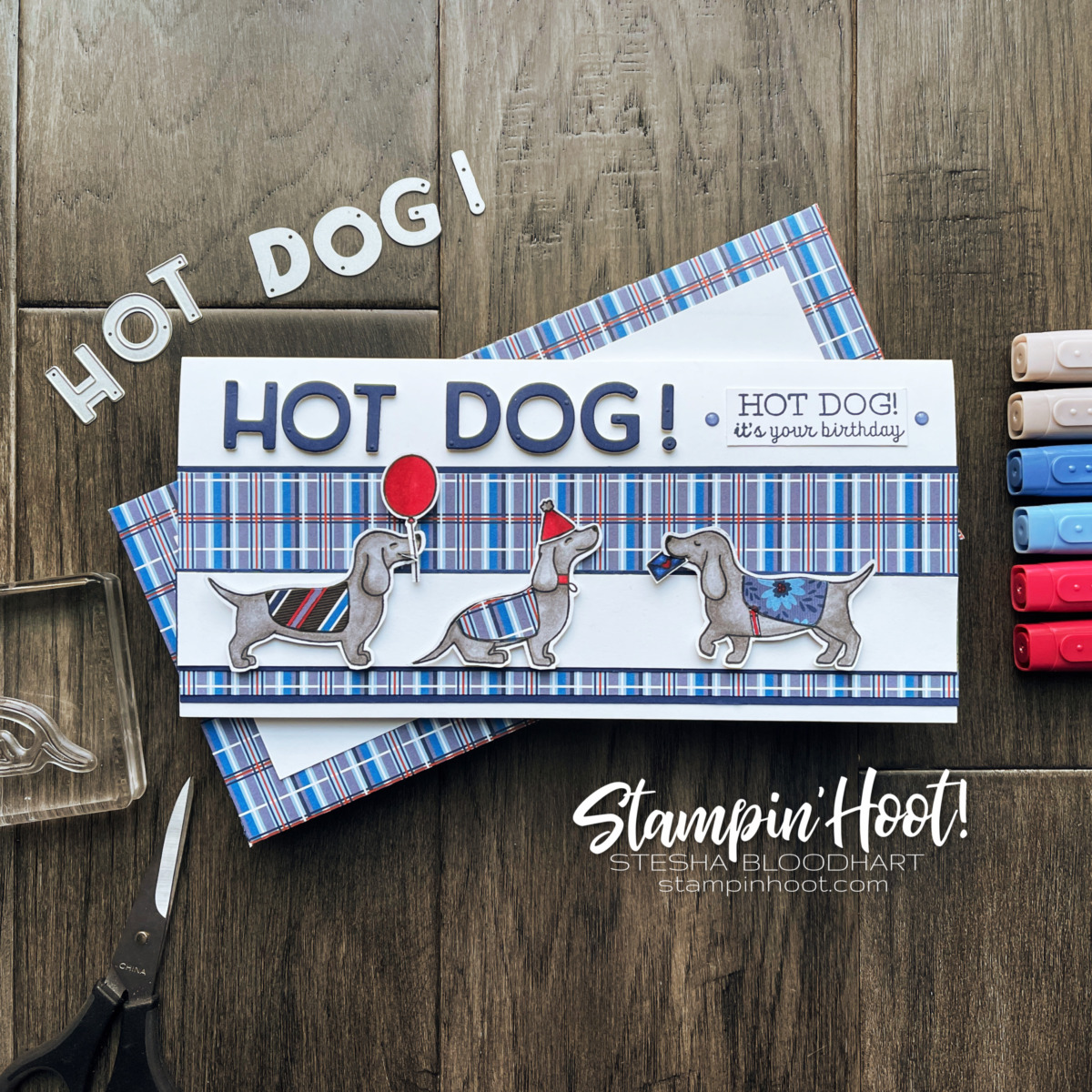 Hot Dog Stamp Set from Stampin' Up! Card by Stesha Bloodhart, Stampin' Hoot! Childrens Birthday Be Inspired