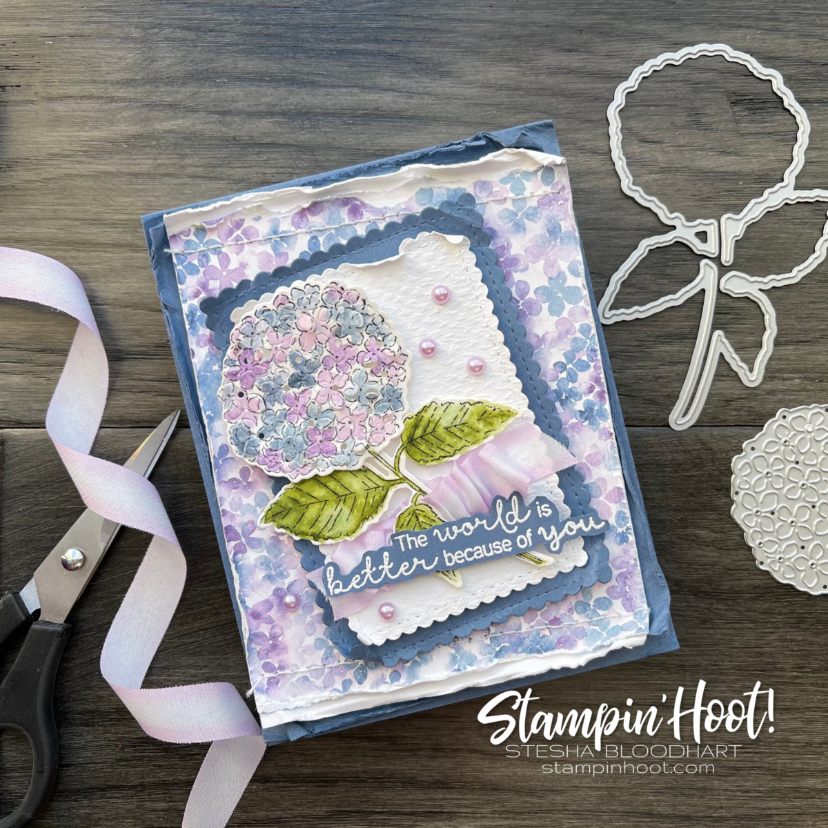 Hydrangea Hill Suite Collection from Stampin' Up! Birthday Card by Stesha Bloodhart, Stampin' Hoot!