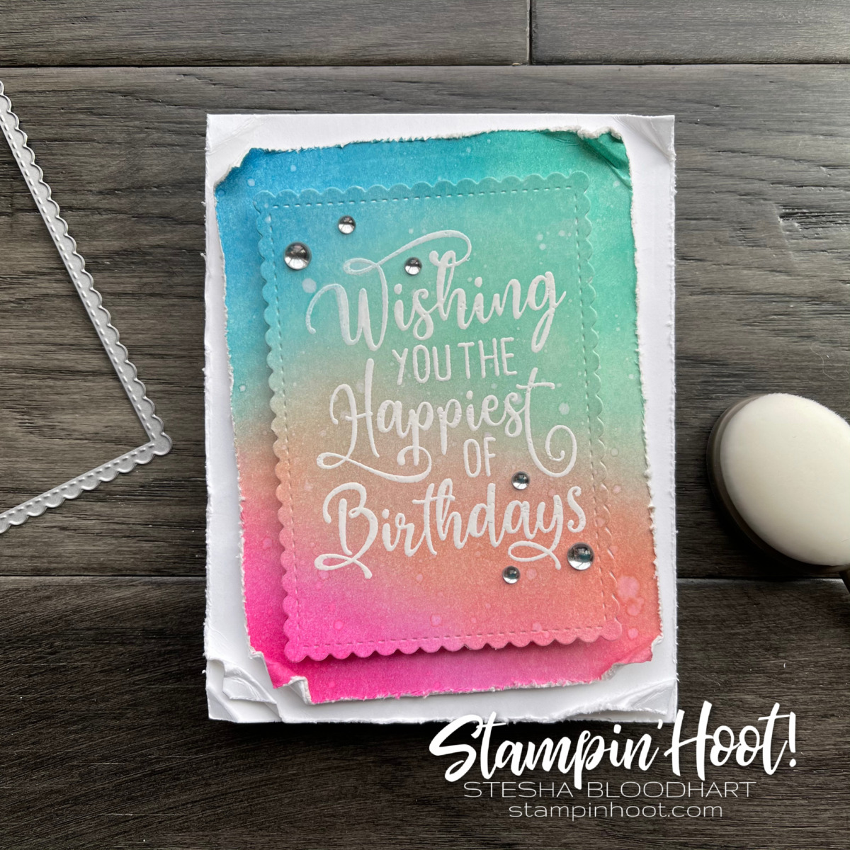 Create this card using the Happiest of Birthdays Stamp Set. Card by Stesha Bloodhart, Stampin' Hoot!