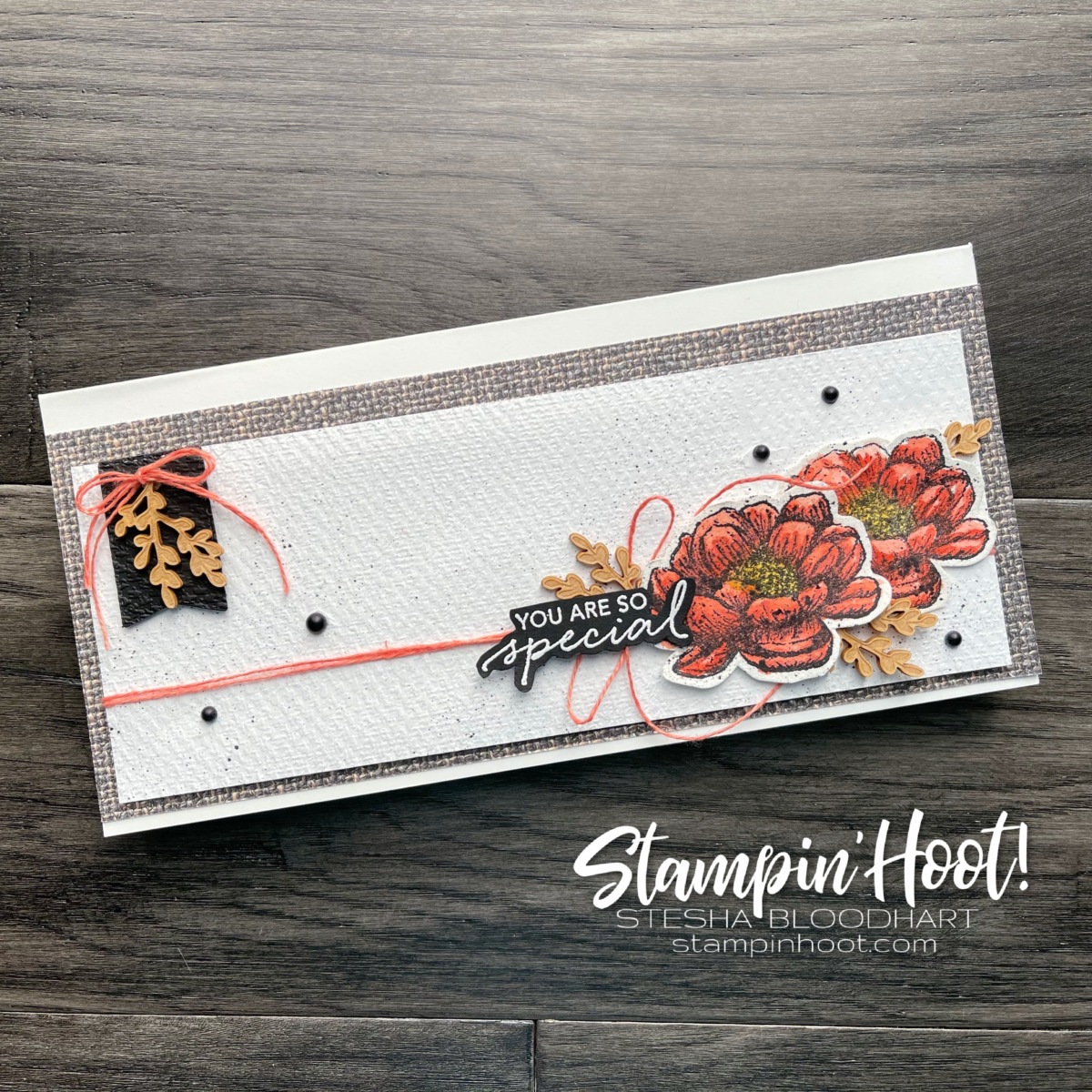 You are so special slimline card created with the Tasteful Touches Bundle from Stampin' Up! Card by Stesha Bloodhart, Stampin' Hoot!