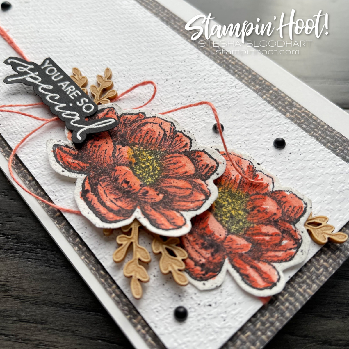 You are so special slimline card created with the Tasteful Touches Bundle from Stampin' Up! Card by Stesha Bloodhart, Stampin' Hoot! Flowers