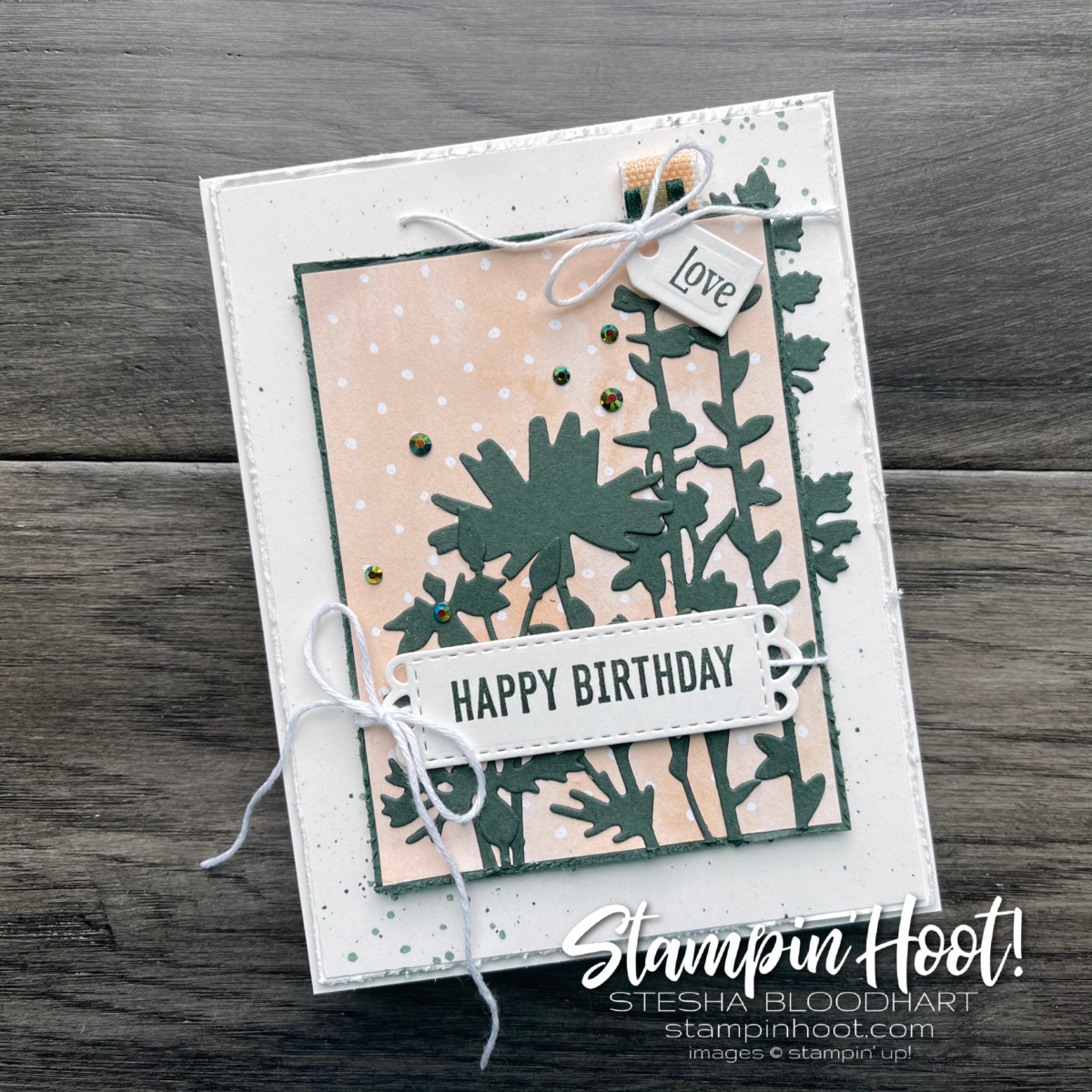 Quiet Meadow Bundle and Hand-Penned by Stampin' Up! Sneak Peek Birthday Card by Stesha Bloodhart, Stampin' Hoot!