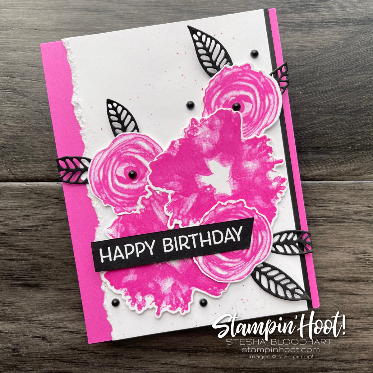 Artistically Inked Bundle by Stampin' Up! Happy Birthday Magenta Madness Card by Stesha Bloodhart, Stampin' Hoot!