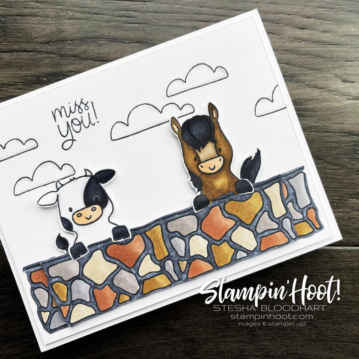 Miss You Card using Stampin' up! Peekaboo Farm. Card by Stesha Bloodhart Stampin' Hoot #tgifc317