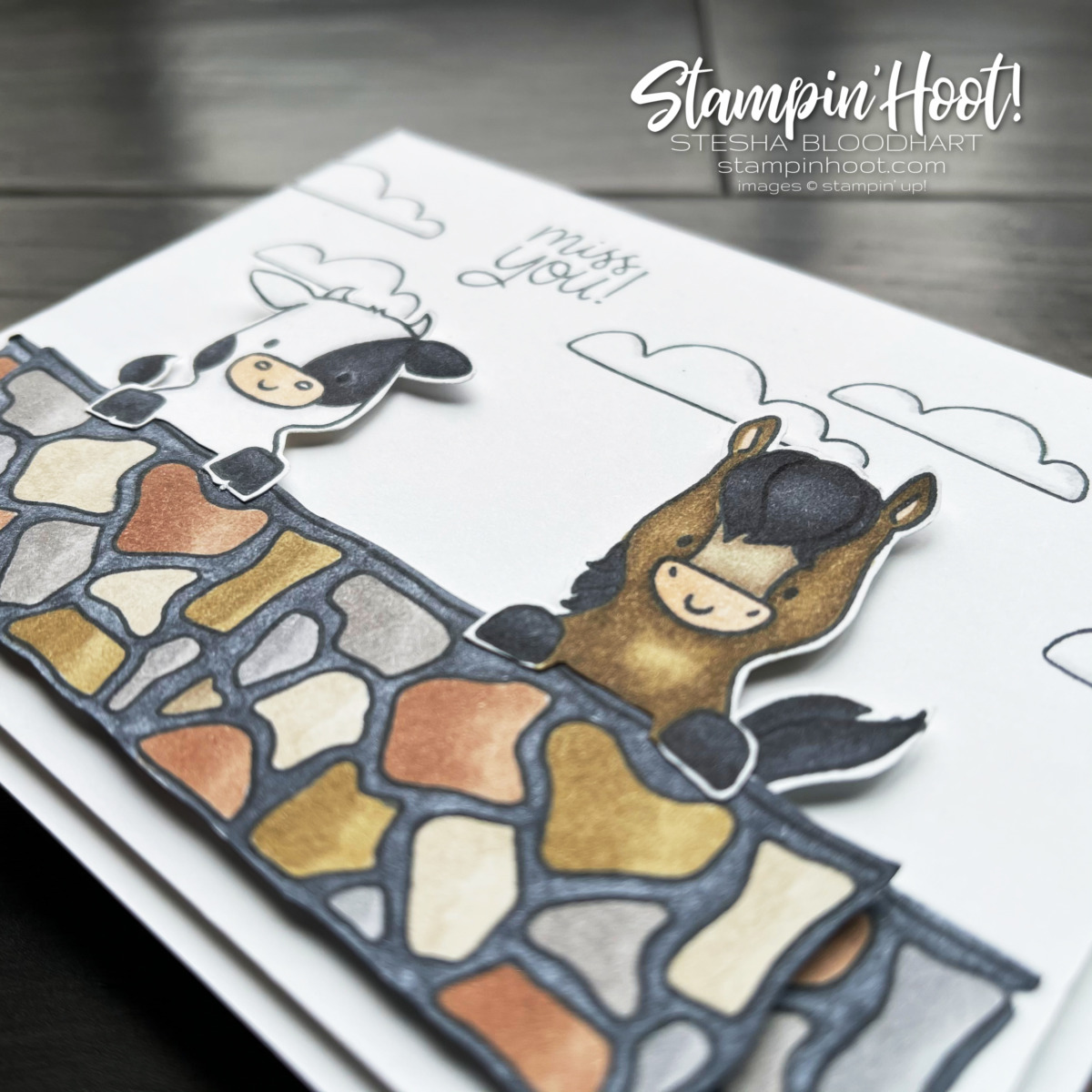 Peekaboo Farm Stamp Set from Stampin' Up! Colored with Stampin' Blends by Stesha Bloodhart, Stampin' Hoot! #tgifc317