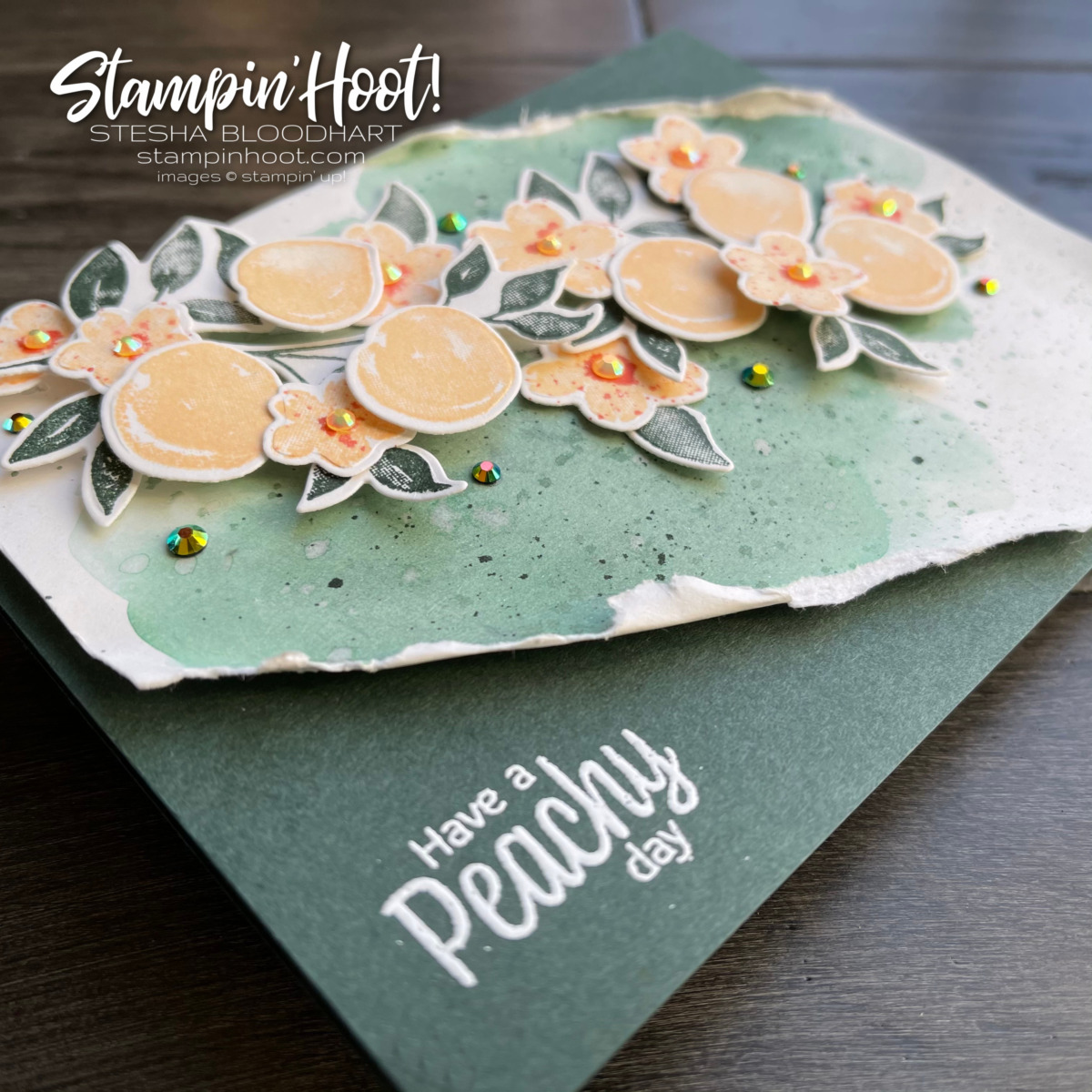 You're a Peach Suite Collection from Stampin' Up! Have a Peachy Day Card by Stesha Bloodhart, Stampin' Hoot! Pals Blog Hop In Color