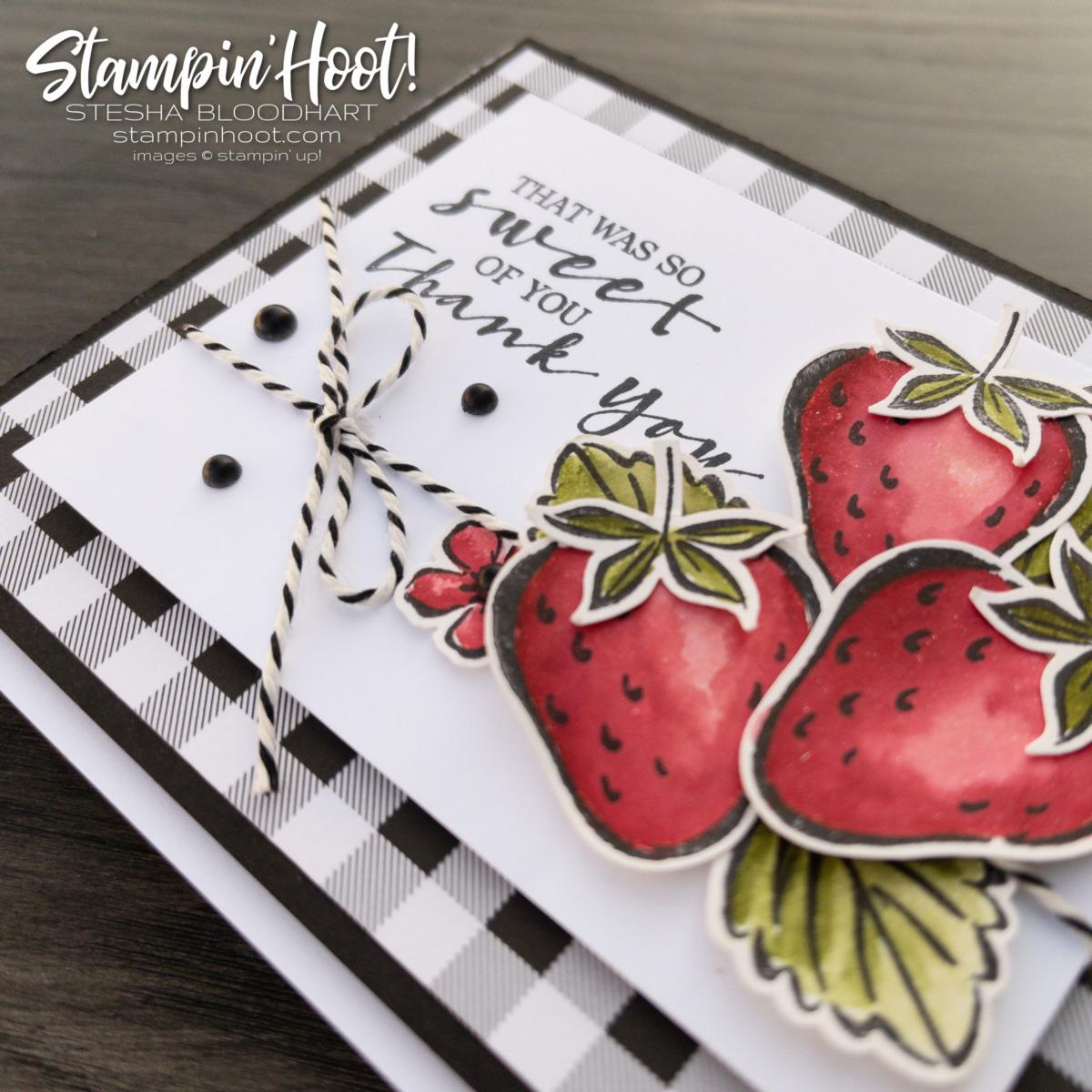 Sweet Strawberry Bundle Thank You Card by Stesha Bloodhart. Stampin' Hoot!
