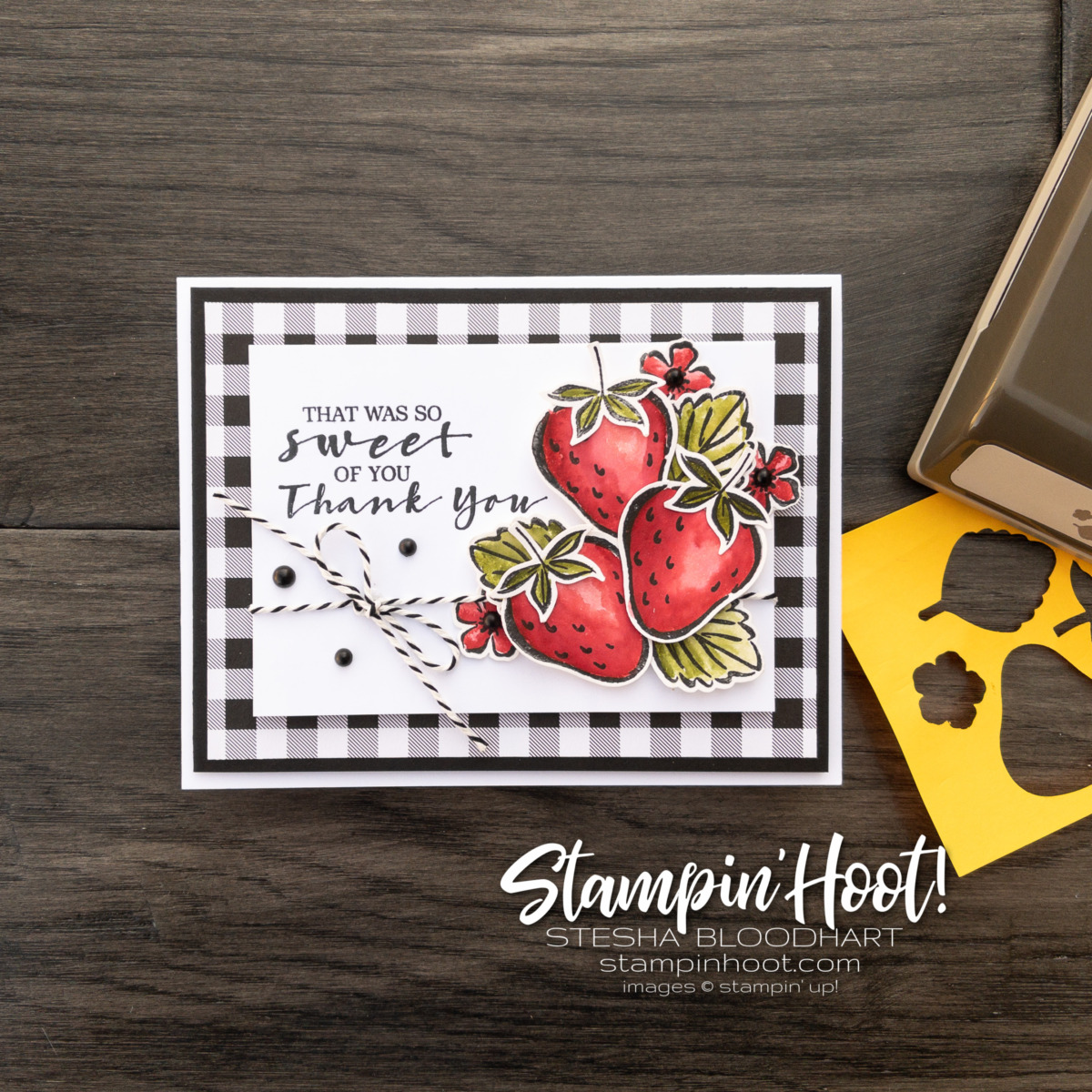 Sweet Strawberry Bundle from Stampin' Up! Thank You Card by Stesha Bloodhart. Stampin' Hoot!